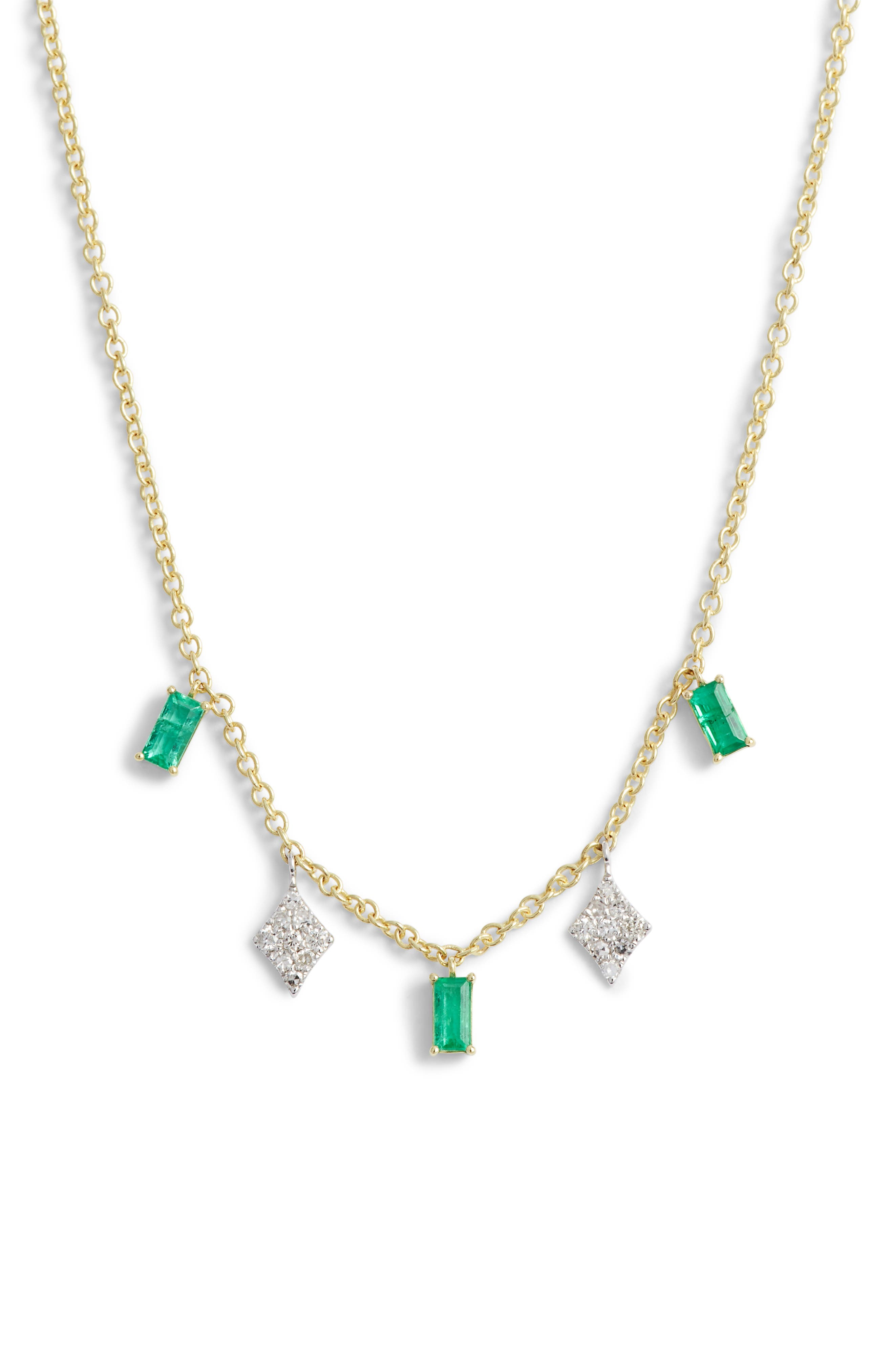 MEIRA T Emerald & Diamond Charm Necklace in Gold