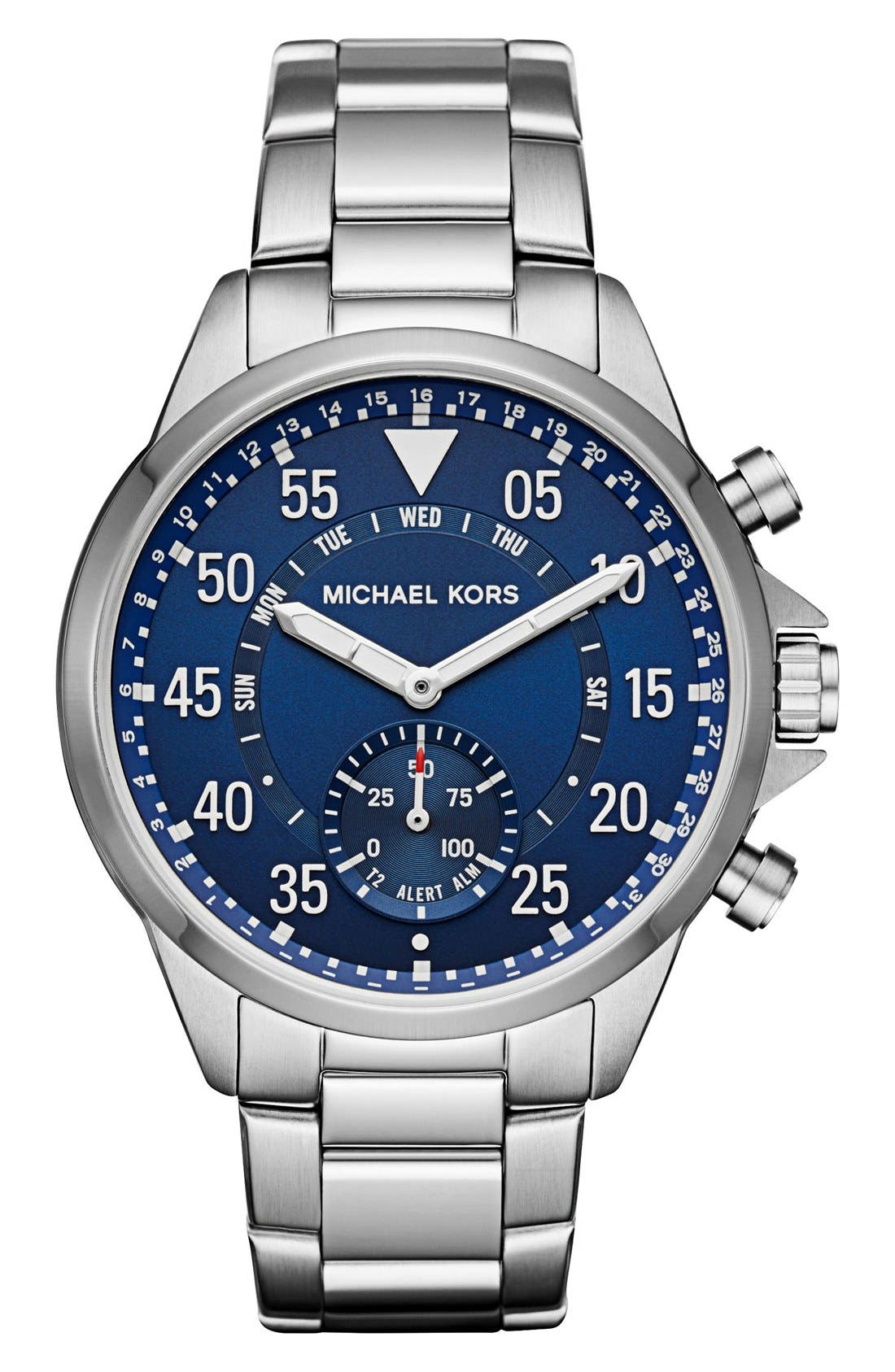 Michael Kors Gage Bracelet Smart Watch, 45mm,                             Main thumbnail 1, color,                             SILVER/ BLUE