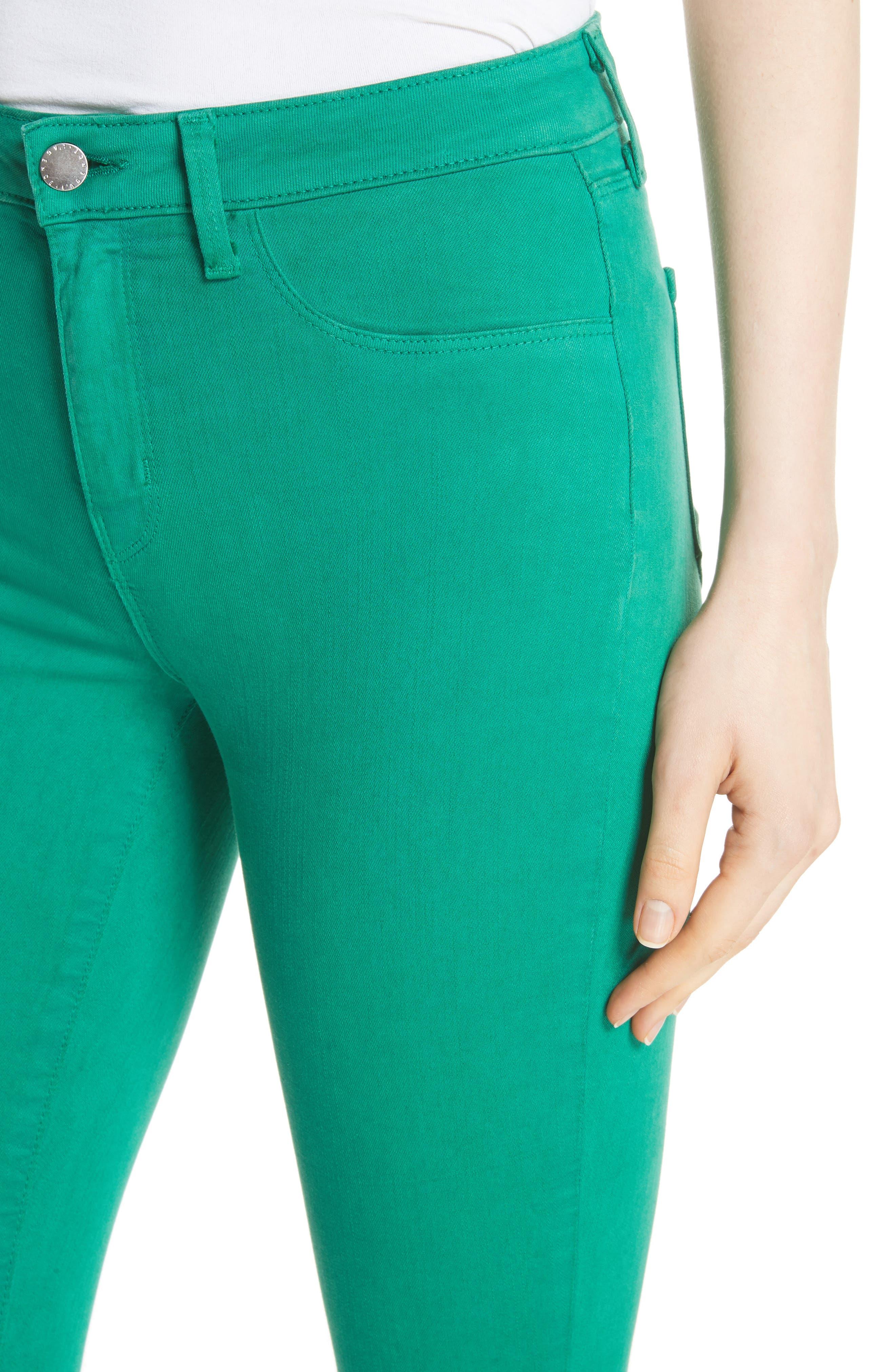 Margot Crop Skinny Jeans,                             Alternate thumbnail 4, color,                             EMERALD
