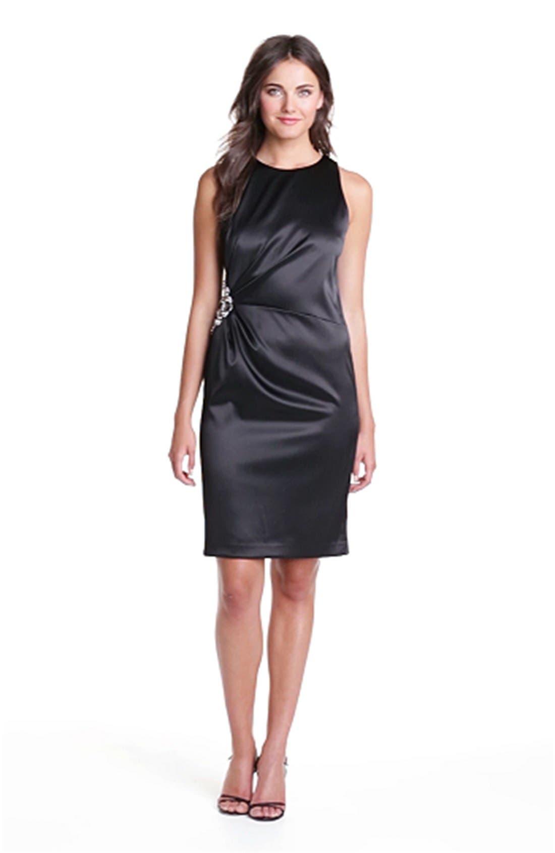 Embellished Side Ruched Sheath Dress,                             Alternate thumbnail 5, color,