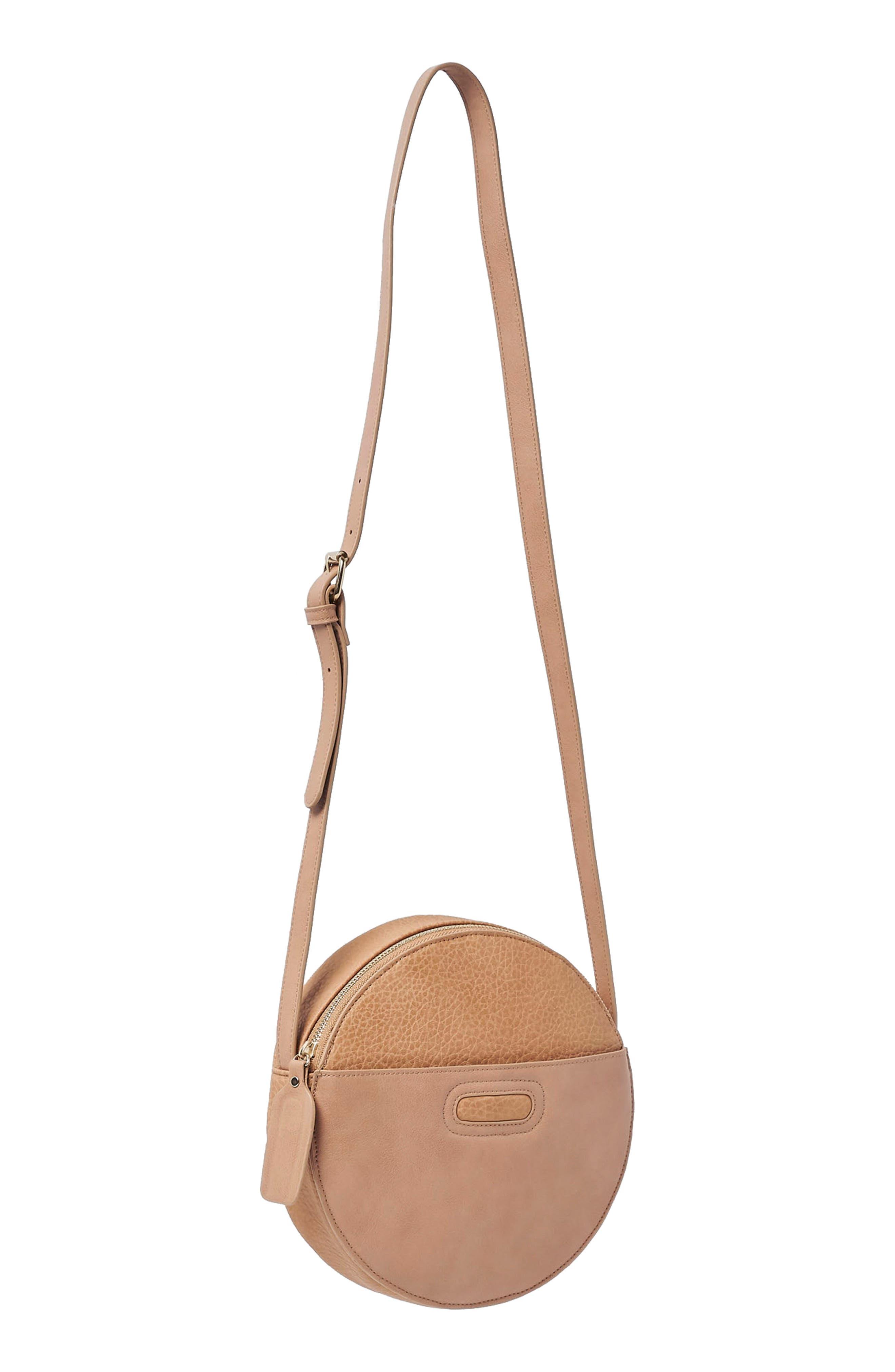 URBAN ORIGINALS,                             Carousel Vegan Leather Crossbody Bag,                             Alternate thumbnail 3, color,                             LATTE