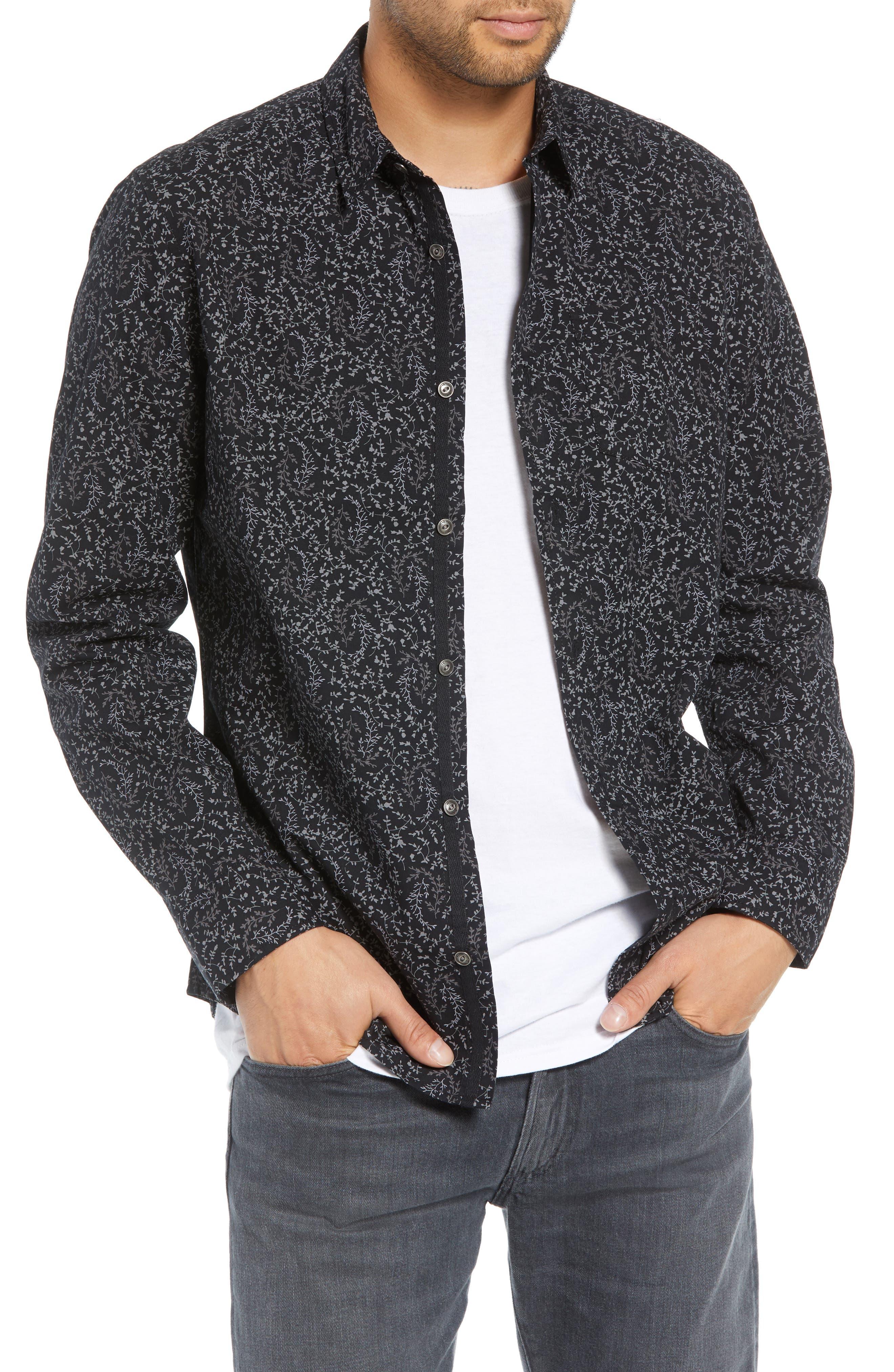 Regular Fit Print Sport Shirt,                         Main,                         color, BLACK ROCK TUMBLEWEED