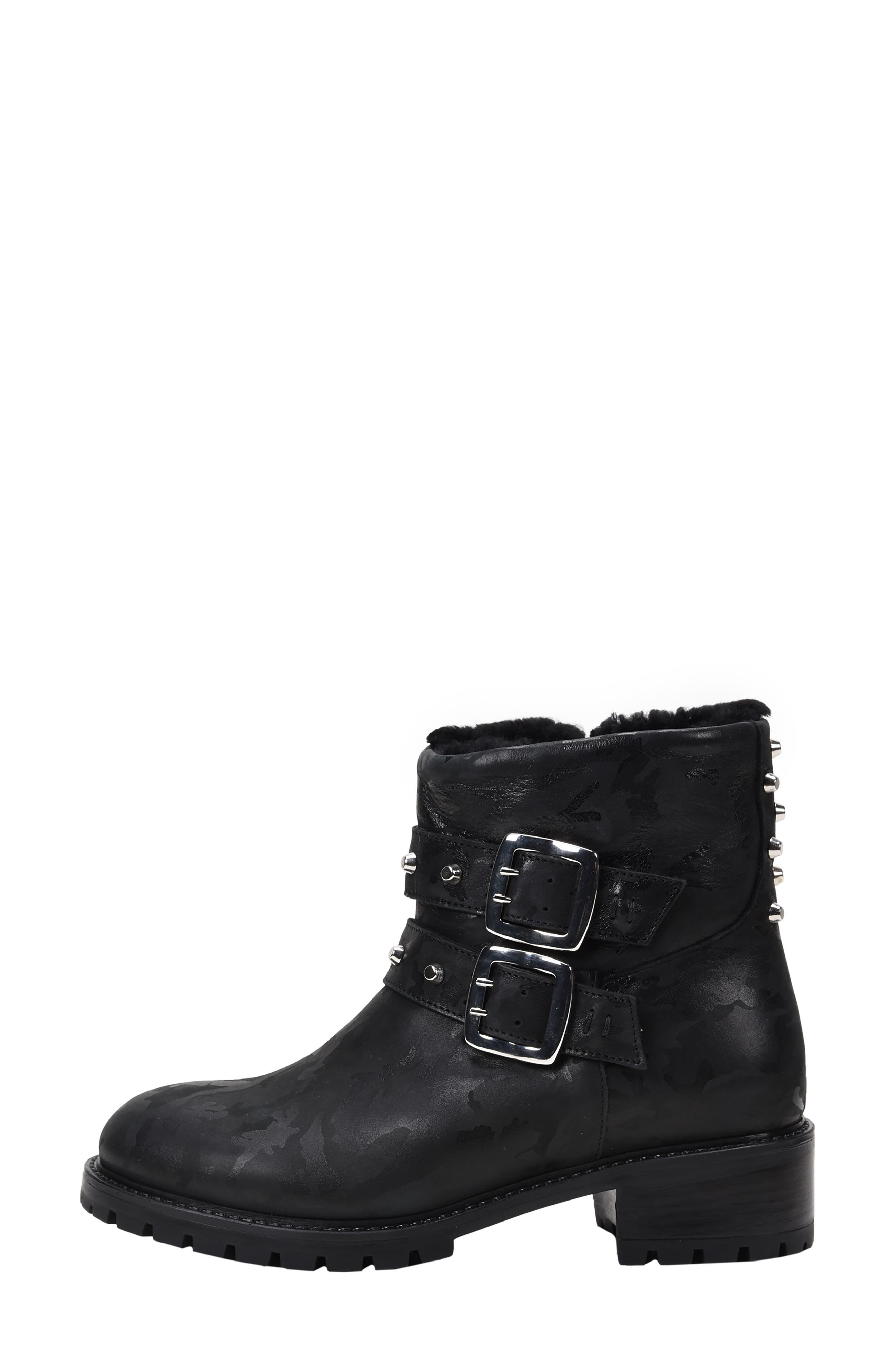 Stefana SP Genuine Shearling Lined Waterproof Bootie,                             Alternate thumbnail 2, color,                             BLACK CAMO LEATHER