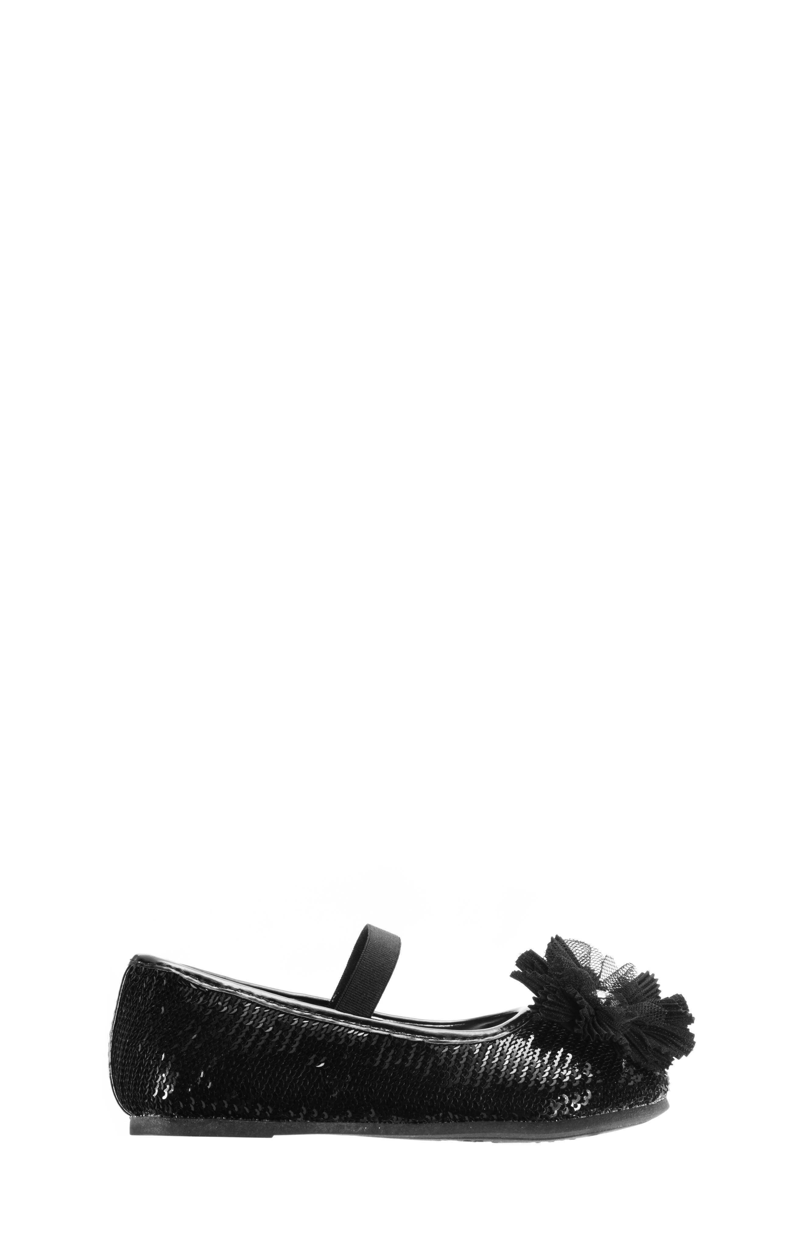 Sequin Ballet Flat,                             Alternate thumbnail 3, color,                             BLACK SEQUINS