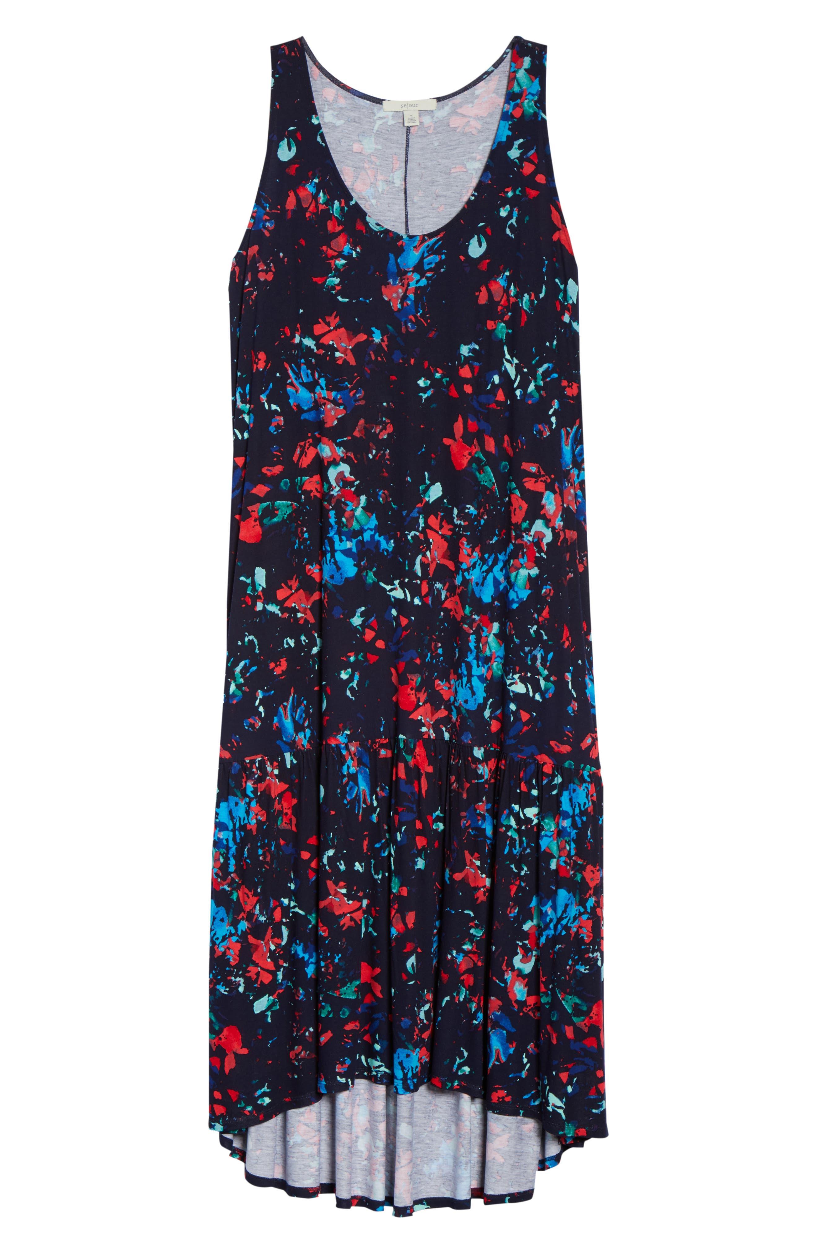 Sleeveless High/Low Knit Maxi Dress,                             Alternate thumbnail 7, color,                             NAVY- RED SPLASH FLORA PRINT