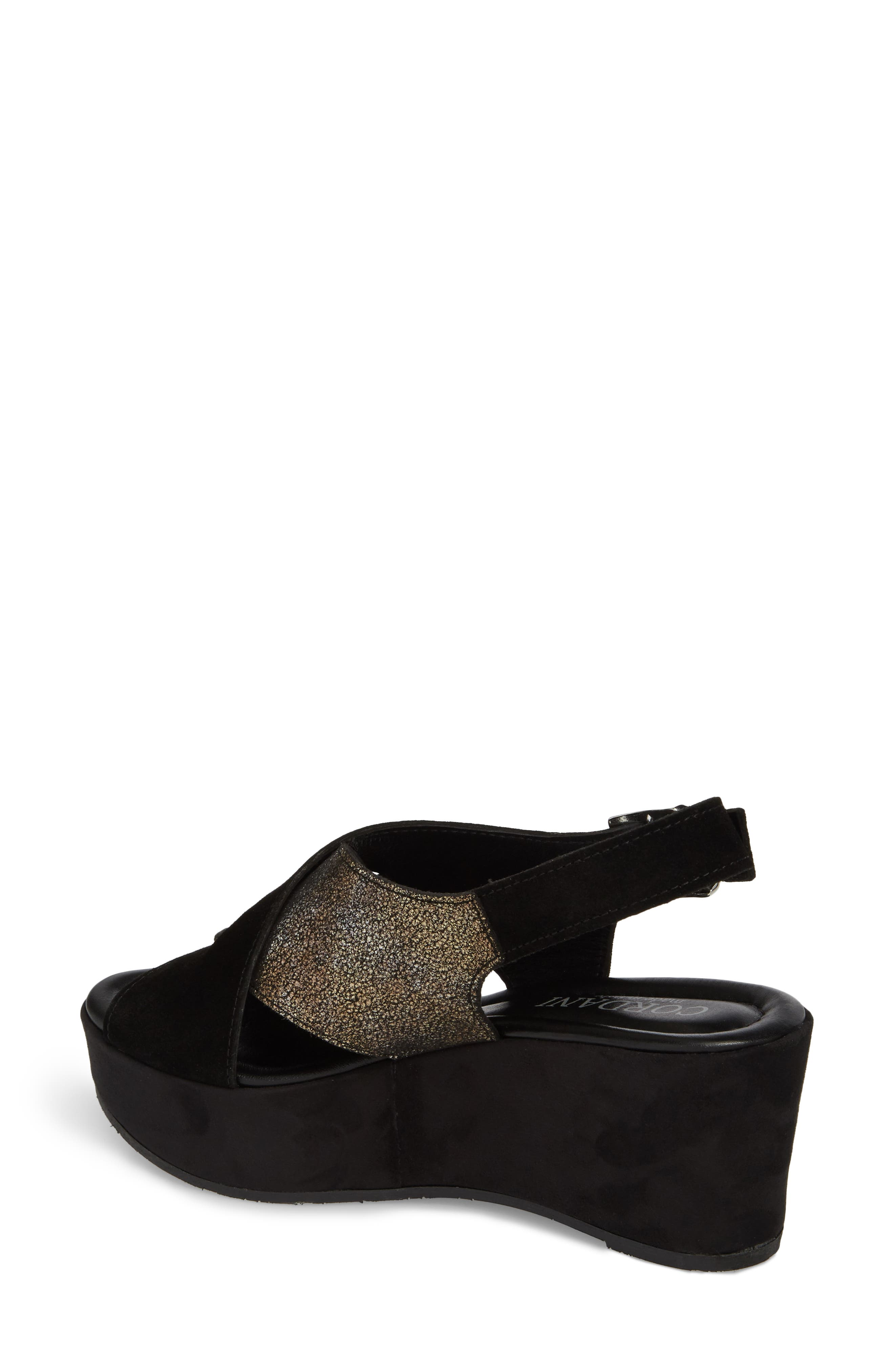Cleary Wedge Sandal,                             Alternate thumbnail 2, color,                             BLACK/ PEWTER SUEDE