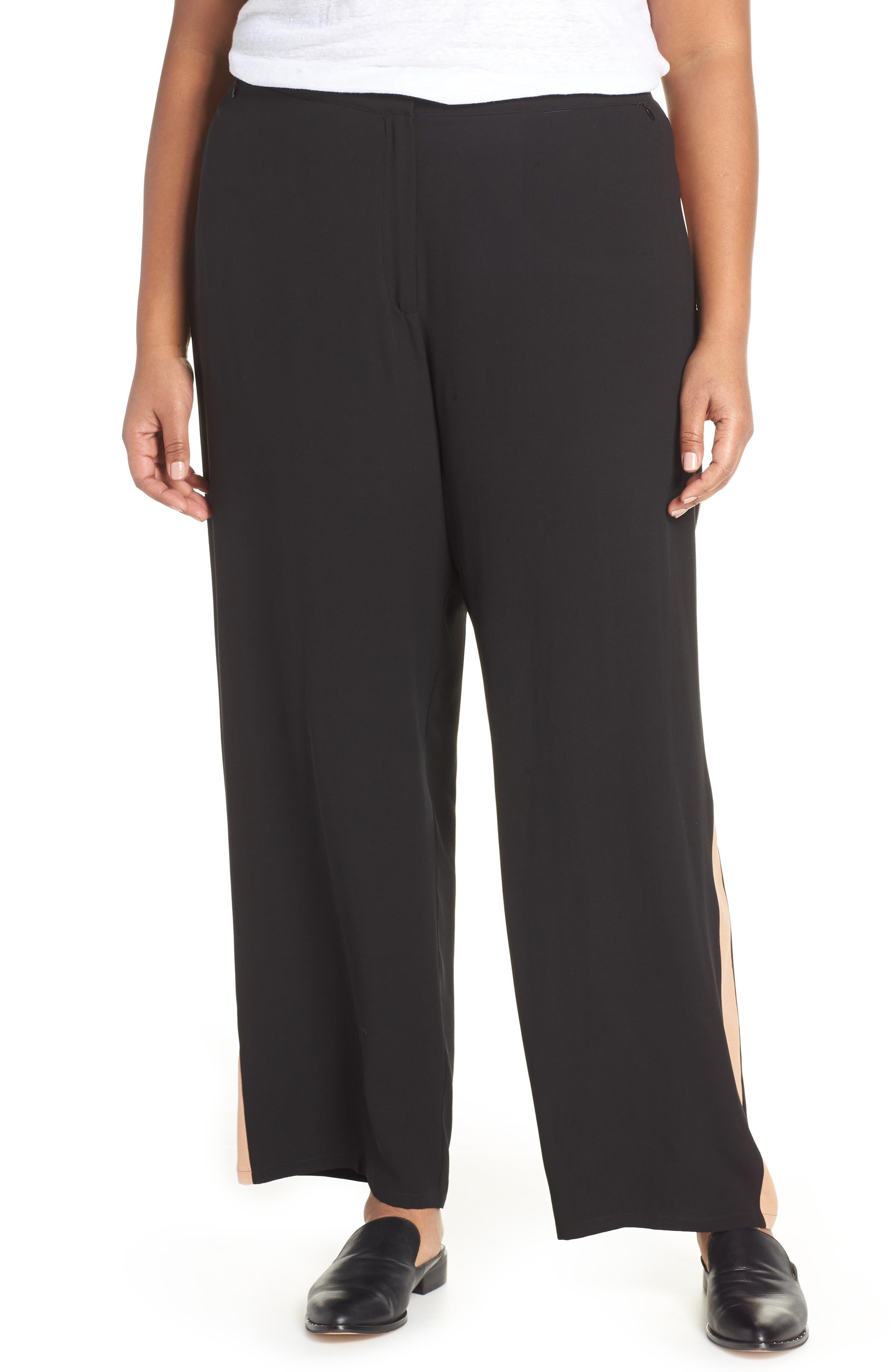 High Rise Side Stripe Silk Pants,                         Main,                         color, BLACK