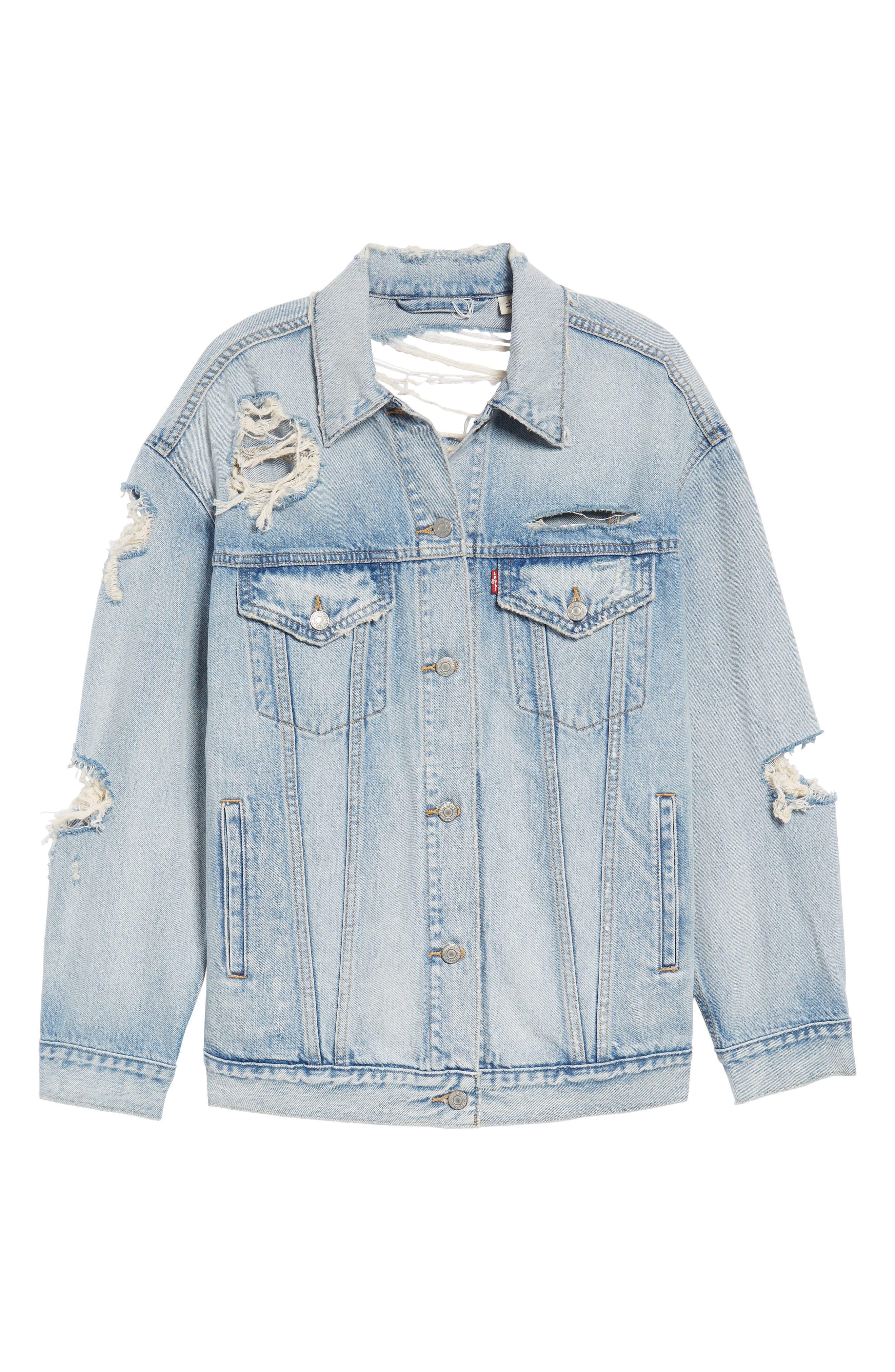 Levis<sup>®</sup> Baggy Trucker Denim Jacket,                             Alternate thumbnail 5, color,                             401