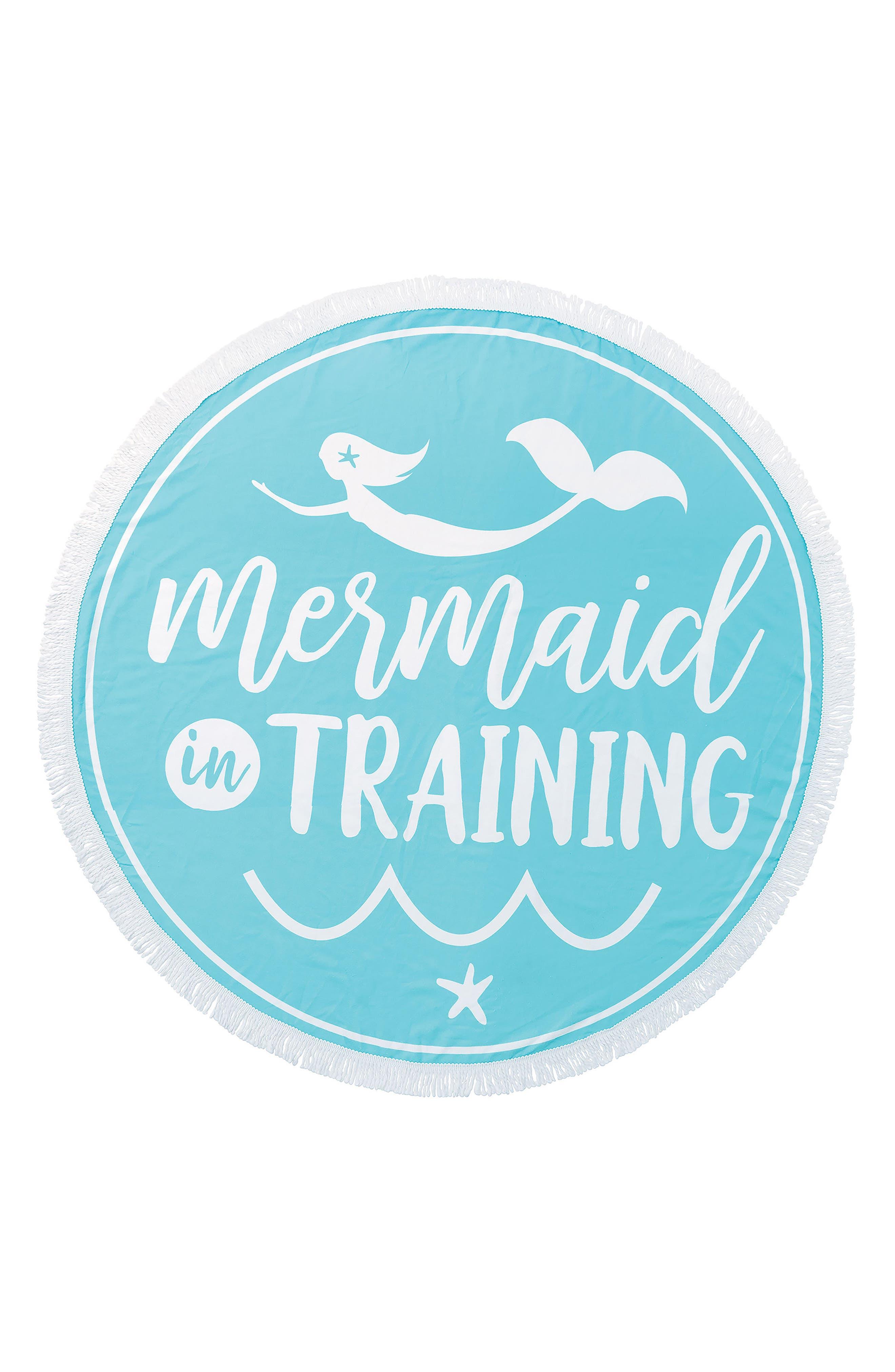 Mermaid in Training Round Beach Blanket,                             Main thumbnail 1, color,