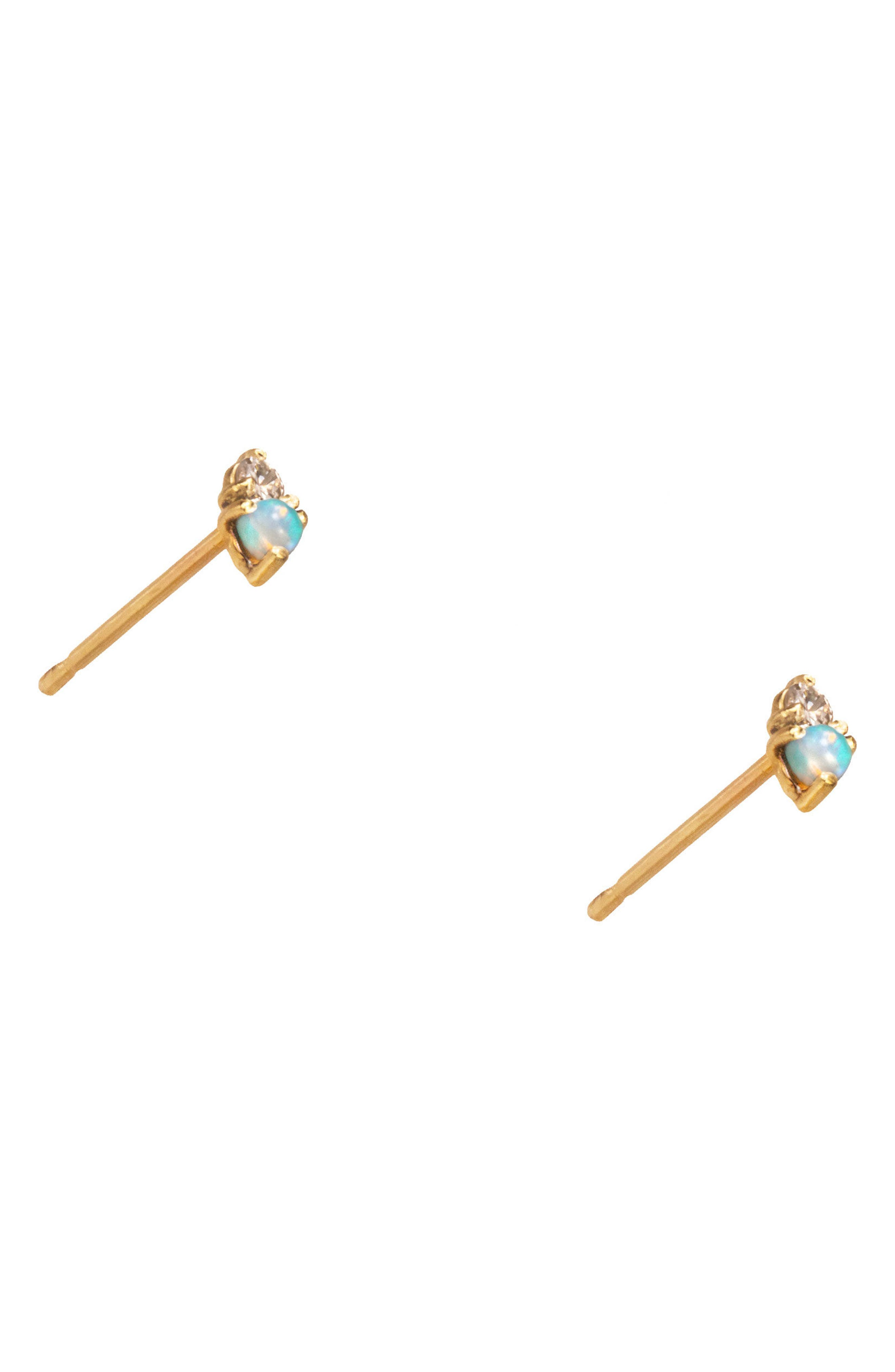 Counting Collection Two-Step Opal & Diamond Stud Earrings,                             Alternate thumbnail 3, color,                             YELLOW GOLD