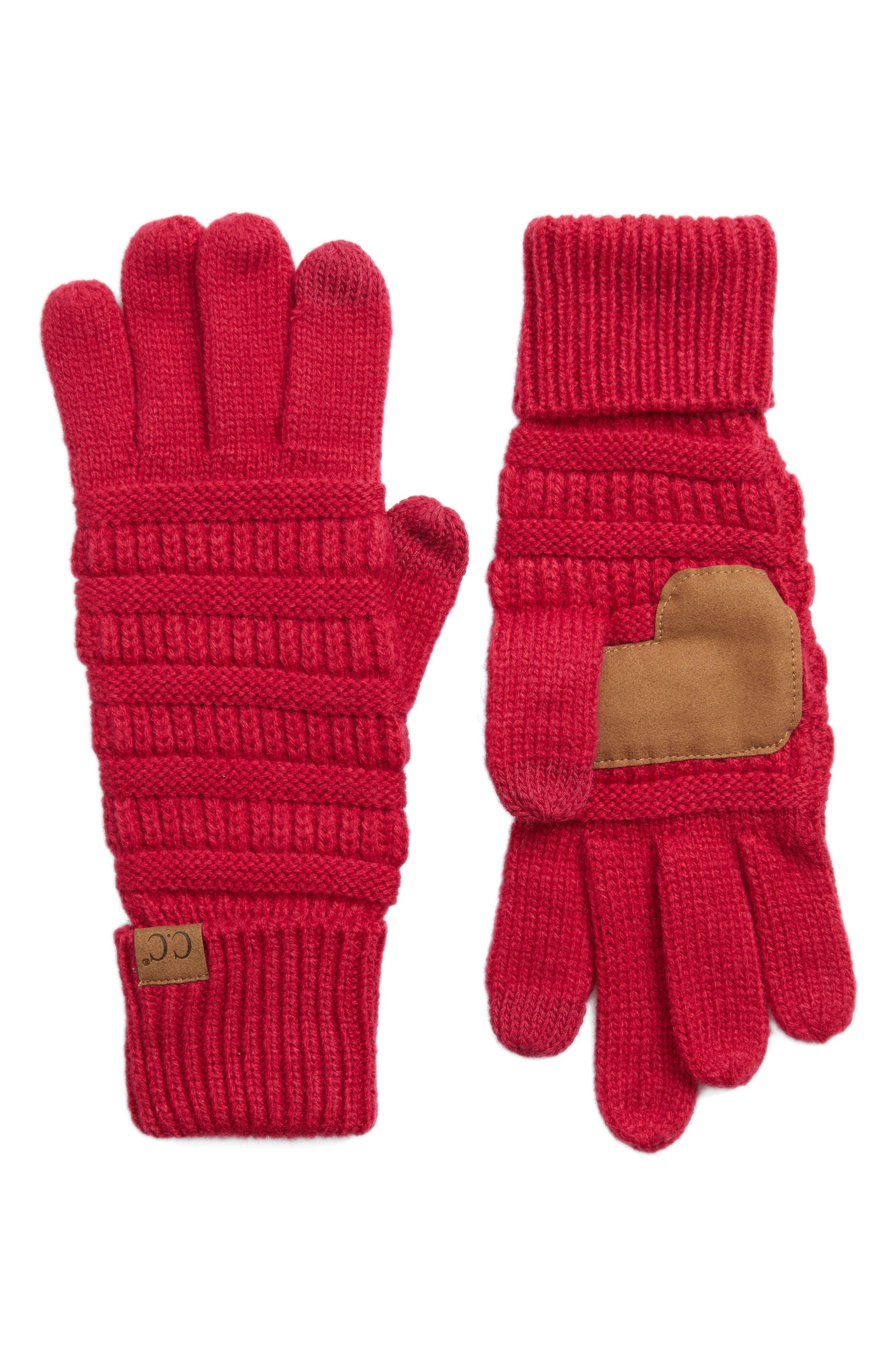 Rib Knit Tech Gloves,                             Main thumbnail 6, color,