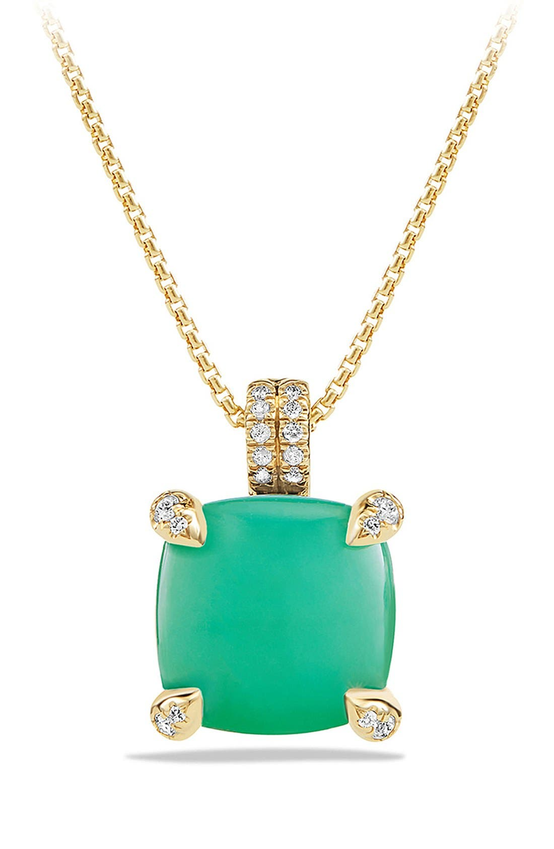 DAVID YURMAN,                             'Châtelaine' Pendant Necklace with Diamonds,                             Main thumbnail 1, color,                             CHRYSOPRASE