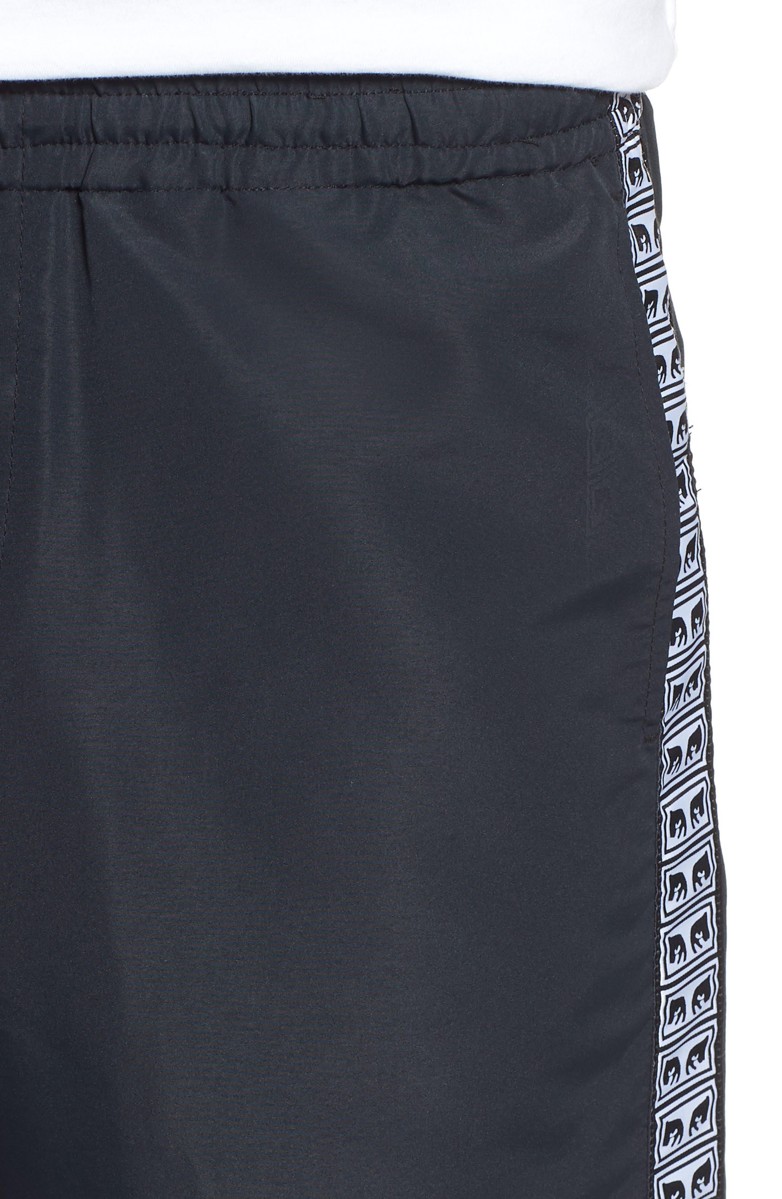 Regular Fit Eyes Taped Track Pants,                             Alternate thumbnail 4, color,                             BLACK