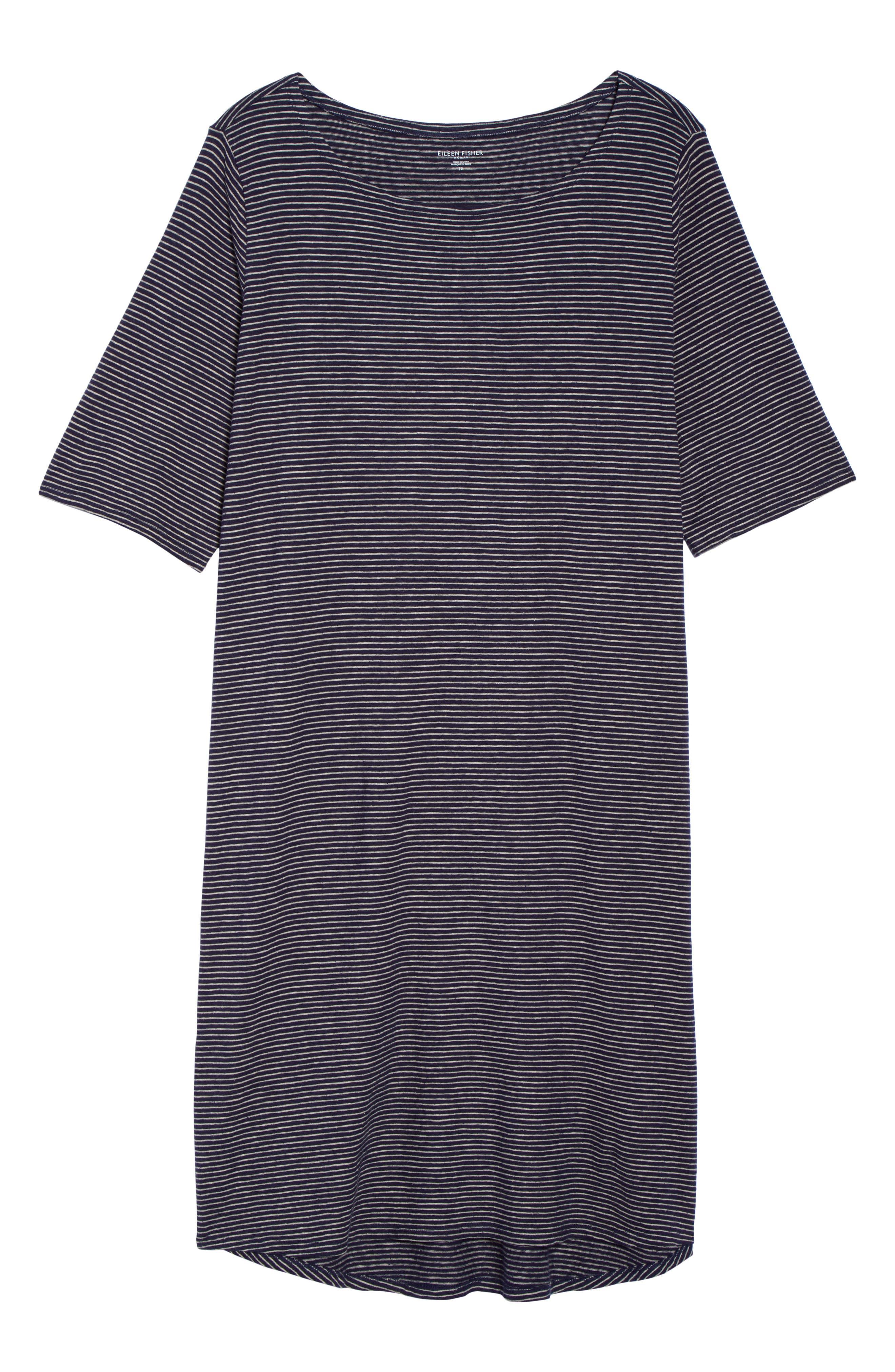 Stripe Hem & Cotton T-Shirt Dress,                             Alternate thumbnail 6, color,                             465
