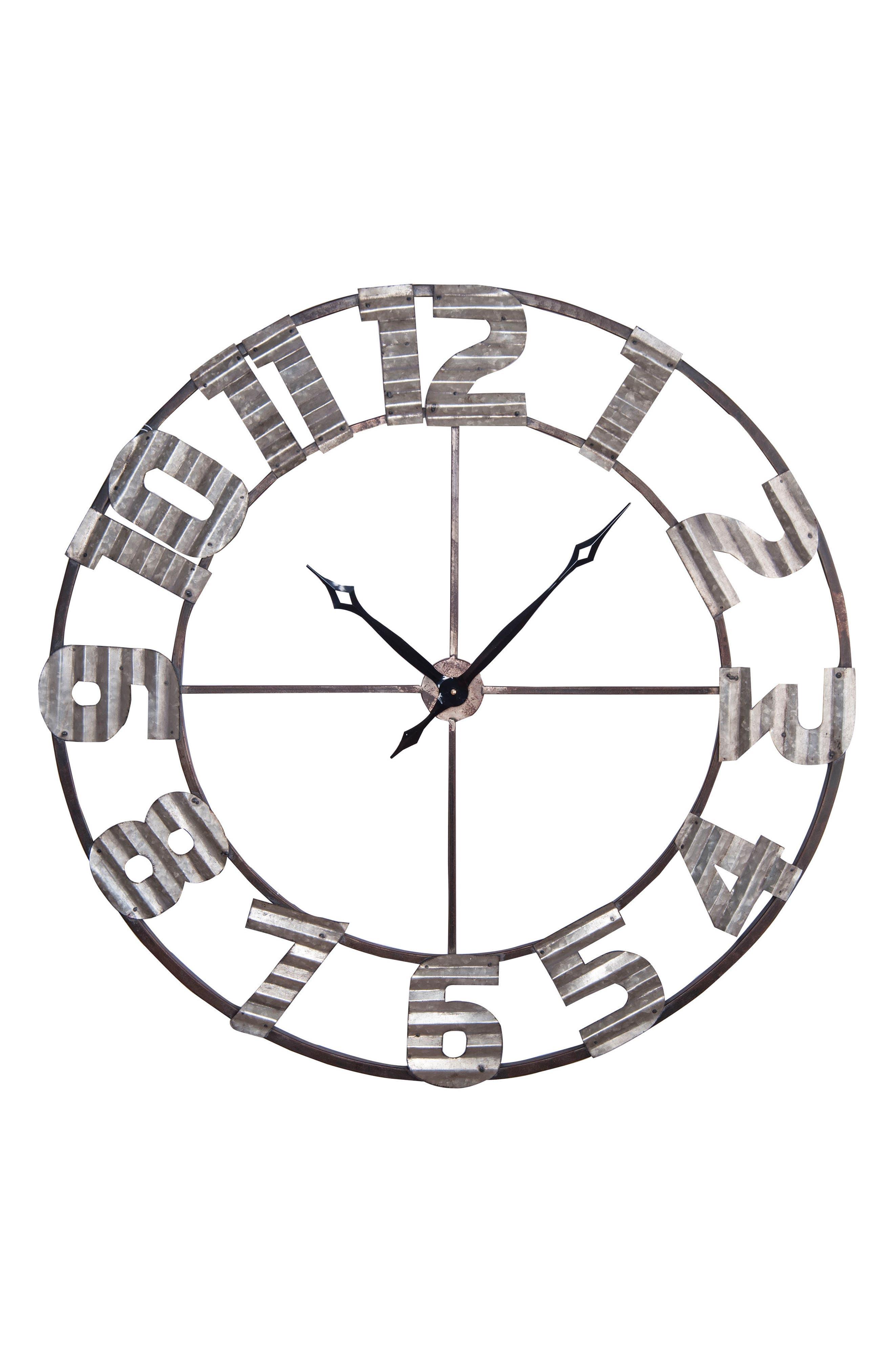 Ashville Corrugated Wall Clock,                             Main thumbnail 1, color,                             200
