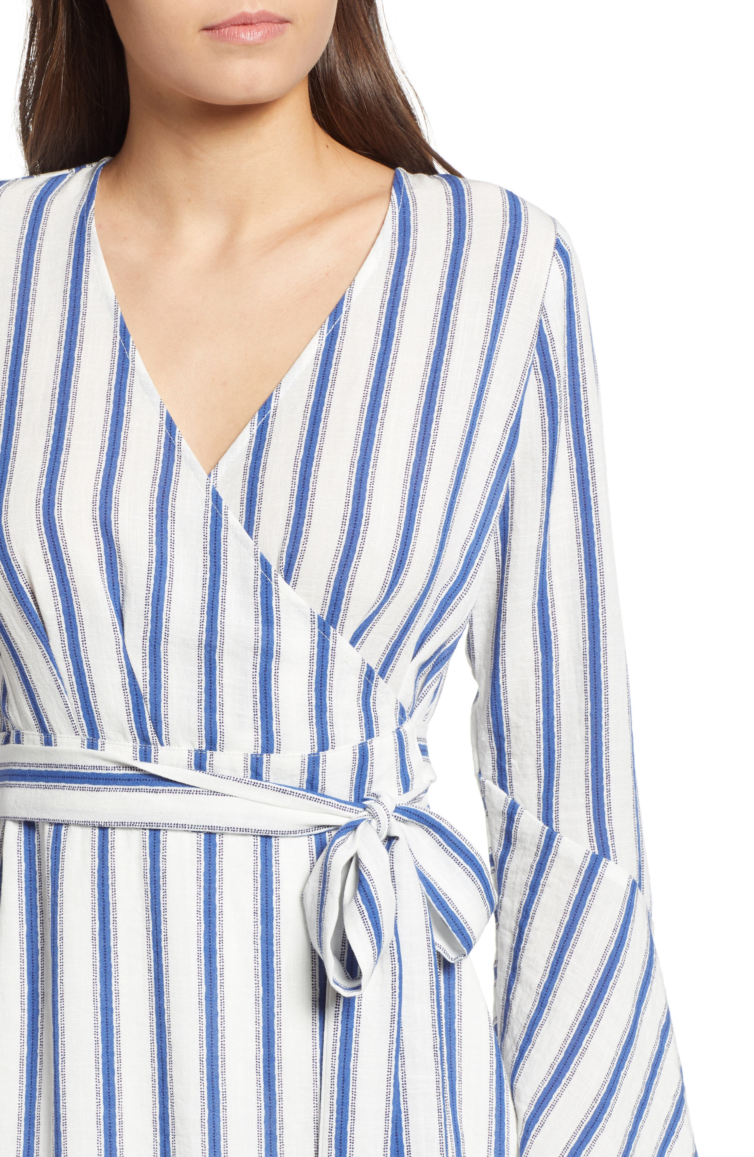 Stripe Flared Sleeve Wrap Dress,                             Alternate thumbnail 4, color,                             400