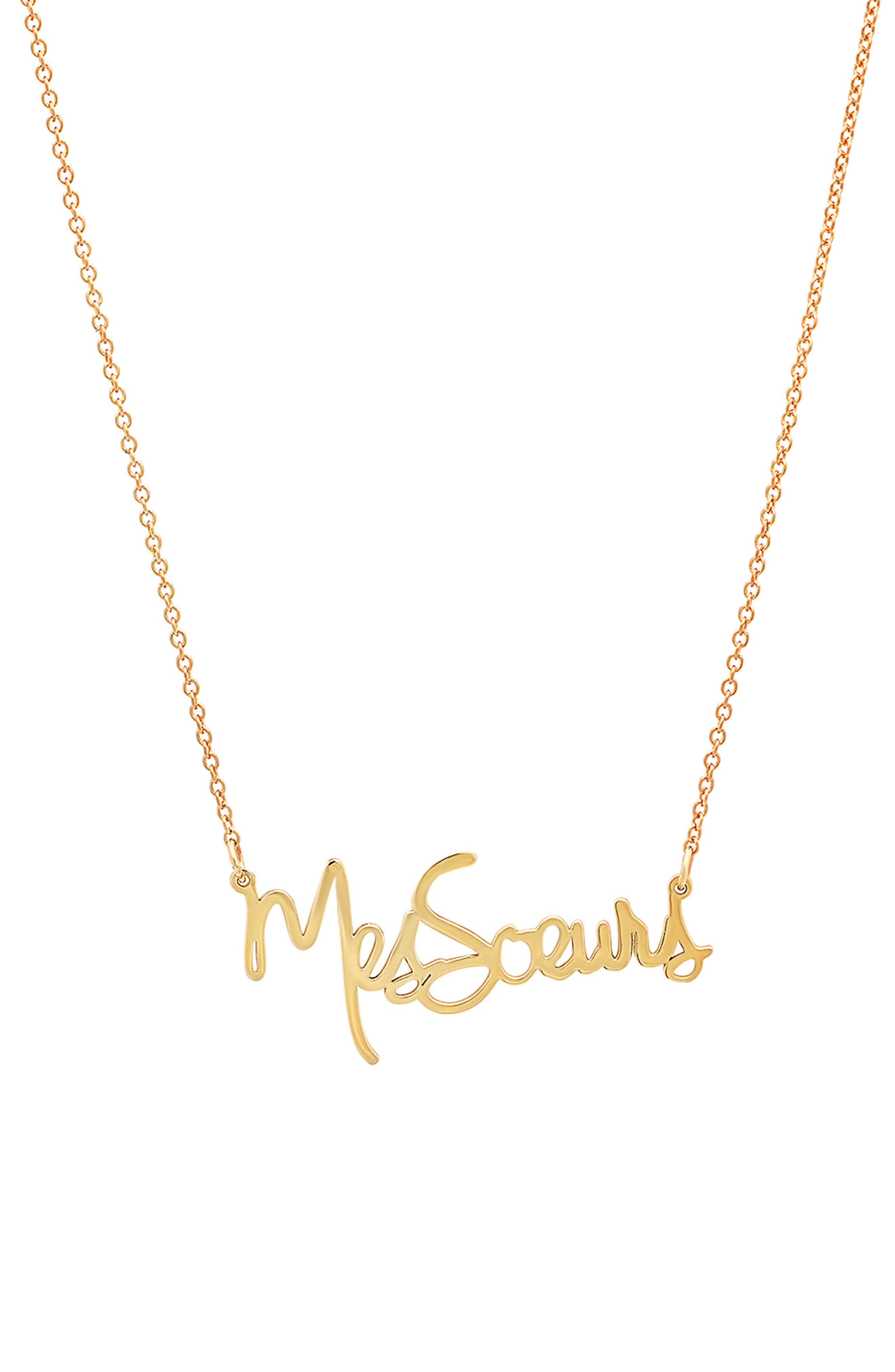 x Striiike Salon Mes Soeurs Pendant Necklace,                             Main thumbnail 1, color,                             YELLOW GOLD