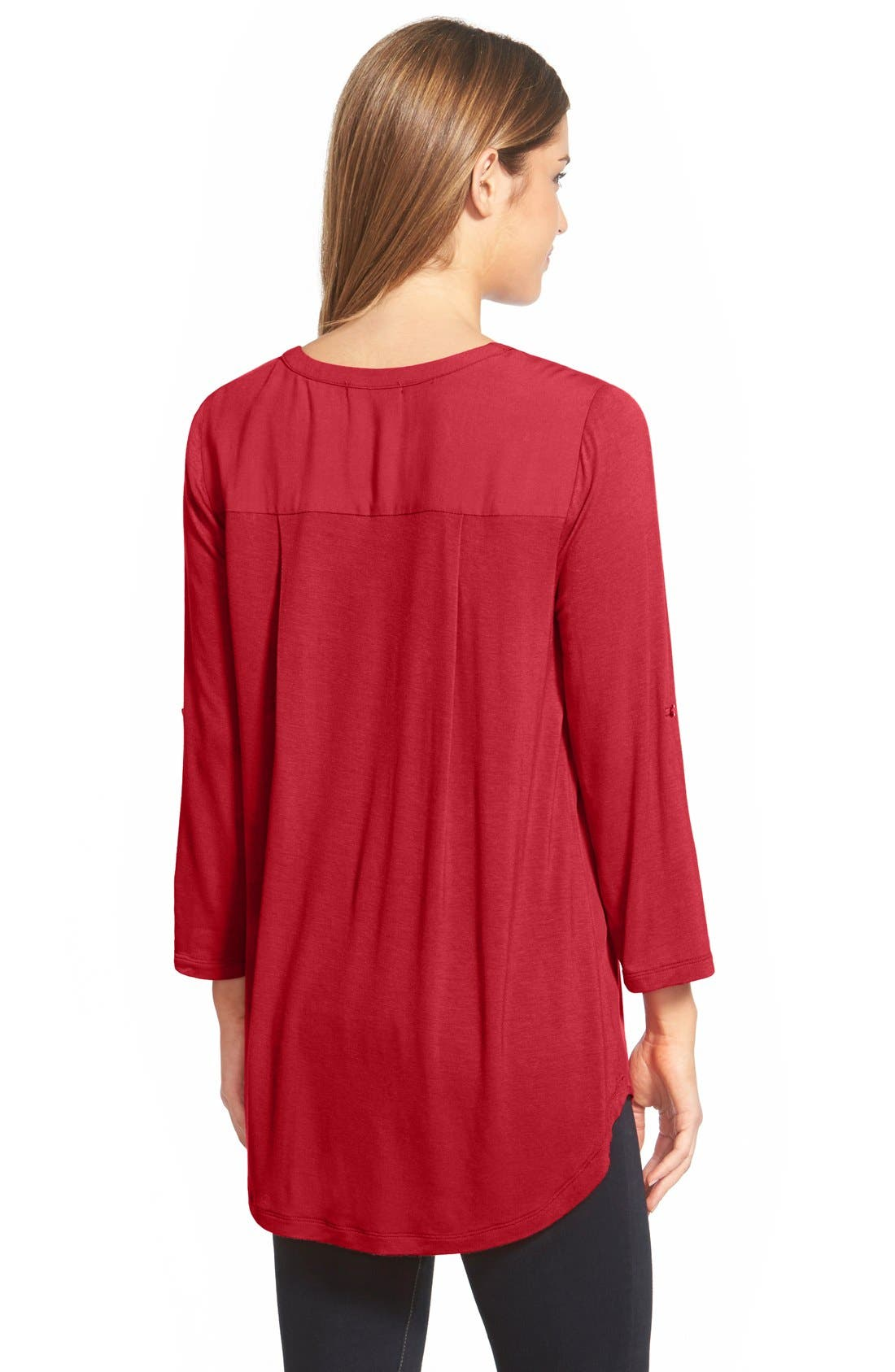 Mixed Media V-Neck Tunic,                             Alternate thumbnail 135, color,