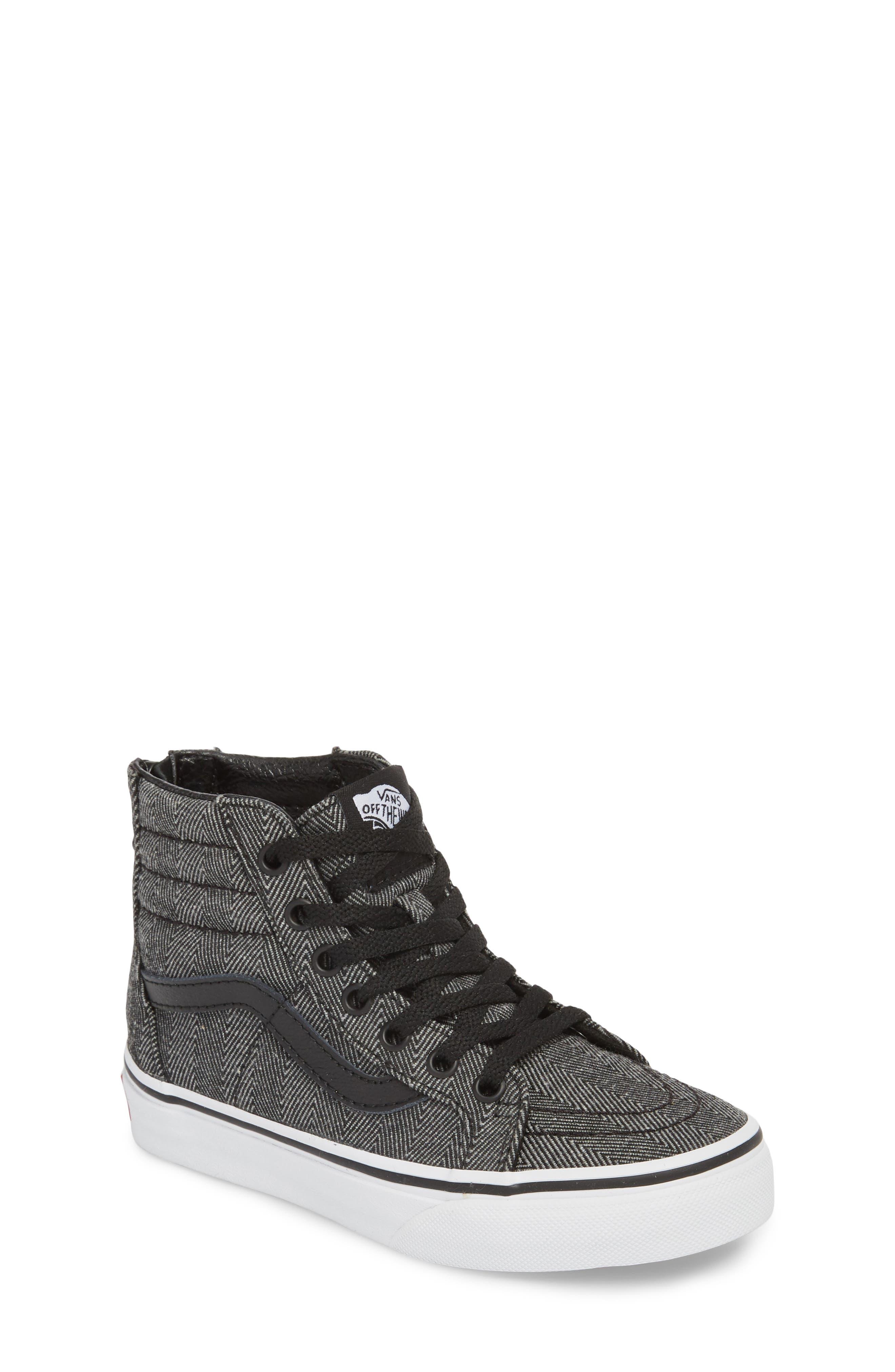 'Sk8-Hi' Sneaker,                             Main thumbnail 1, color,                             HERRINGBONE BLACK/ TRUE WHITE
