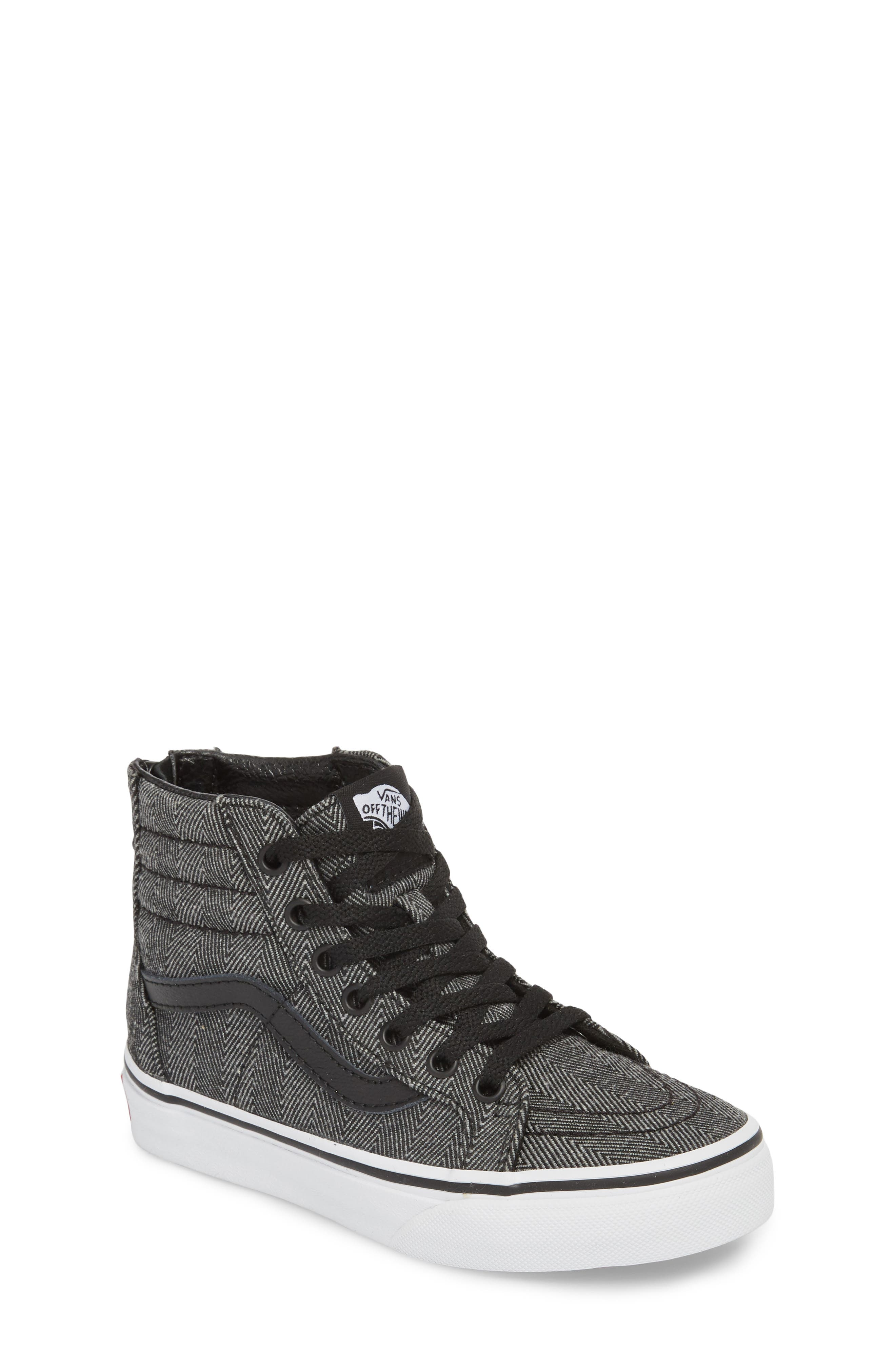 'Sk8-Hi' Sneaker,                         Main,                         color, HERRINGBONE BLACK/ TRUE WHITE