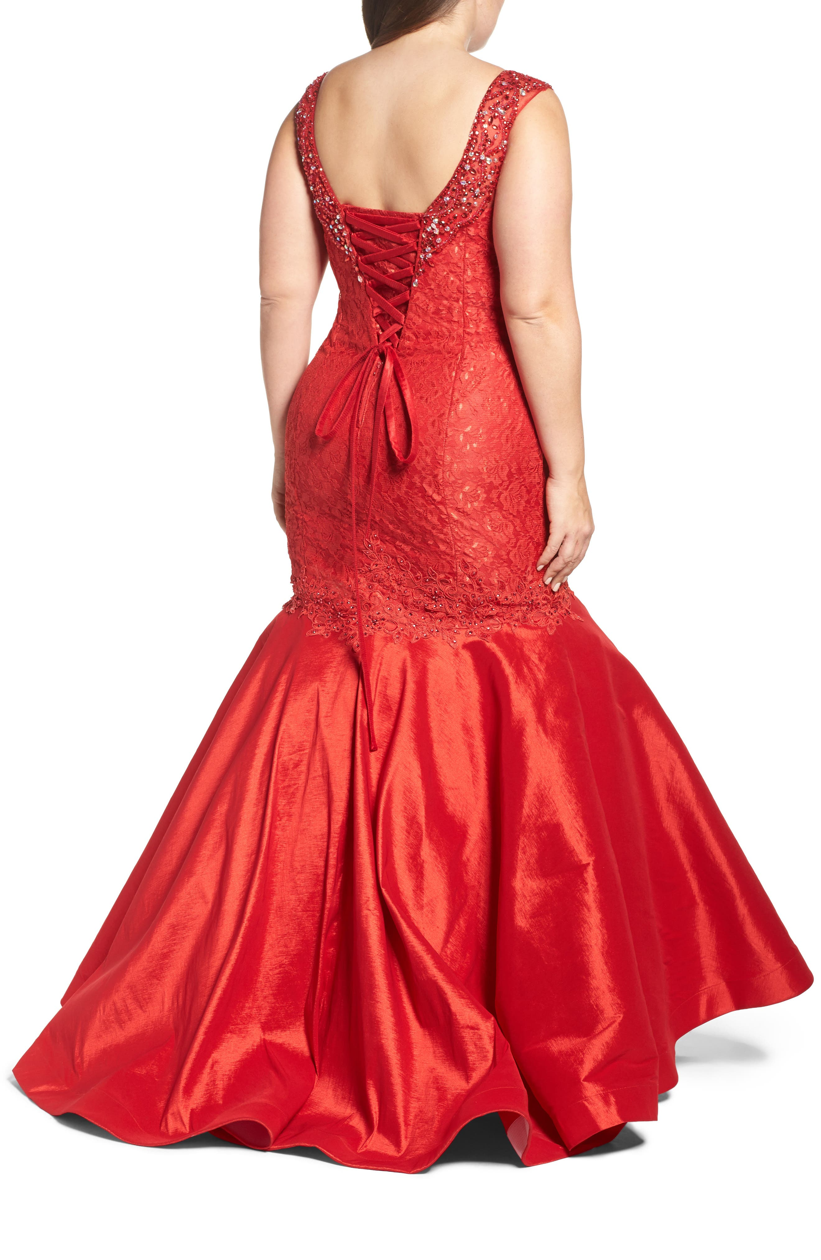 Embellished Lace & Taffeta Mermaid Gown,                             Alternate thumbnail 2, color,                             RED