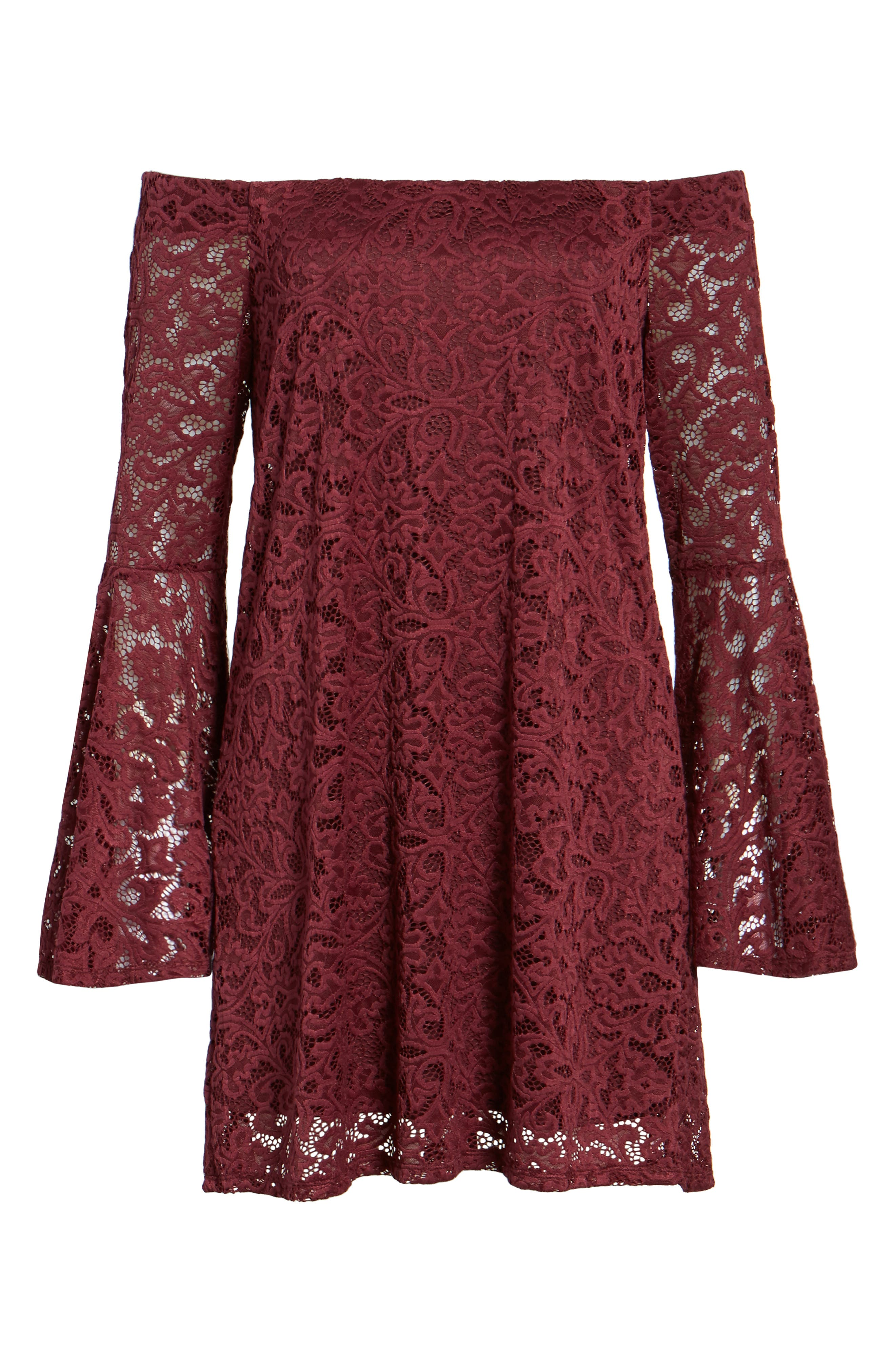 Lace Bell Sleeve Off the Shoulder Dress,                             Alternate thumbnail 6, color,                             930