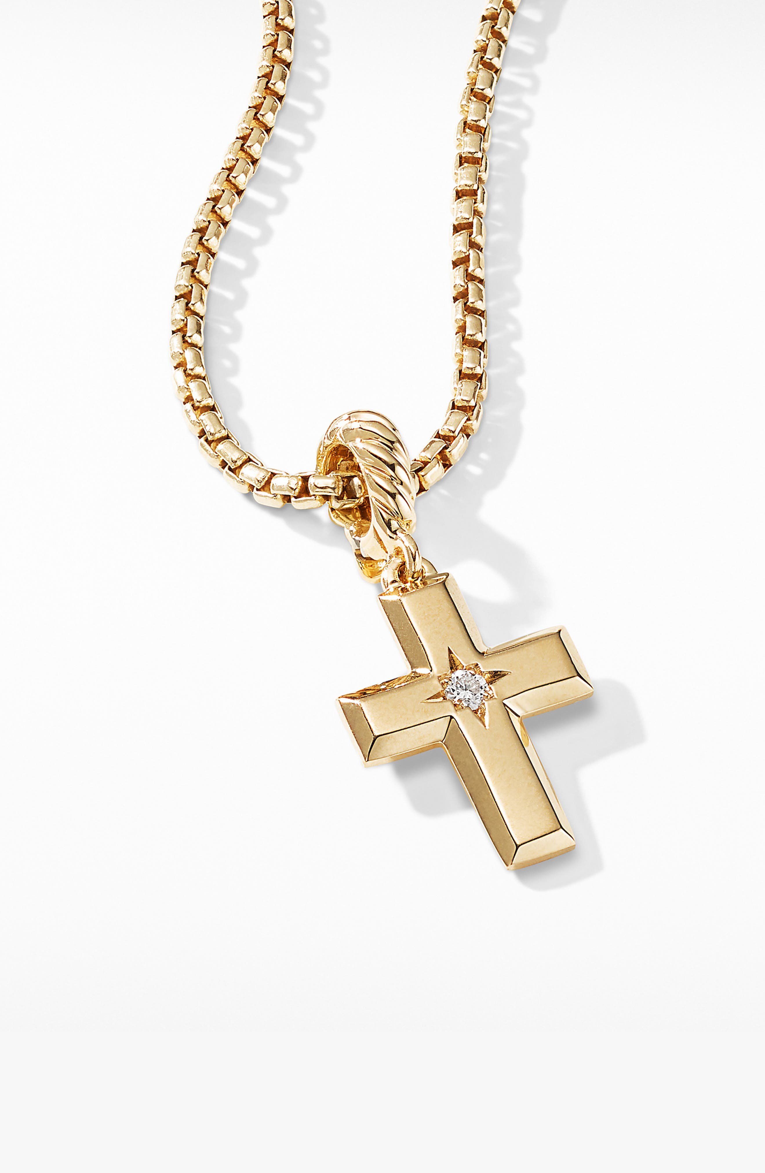 Cross Pendant in 18K Yellow Gold with Diamonds,                             Alternate thumbnail 3, color,                             YELLOW GOLD/ DIAMOND