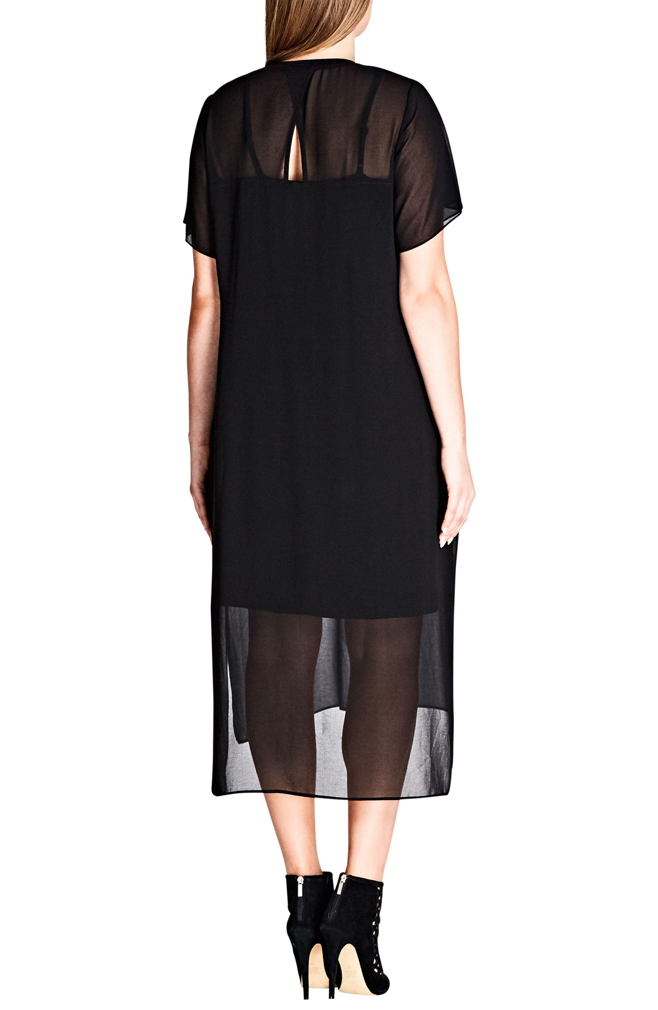 Cool Sheer Midi Dress,                             Alternate thumbnail 2, color,                             001