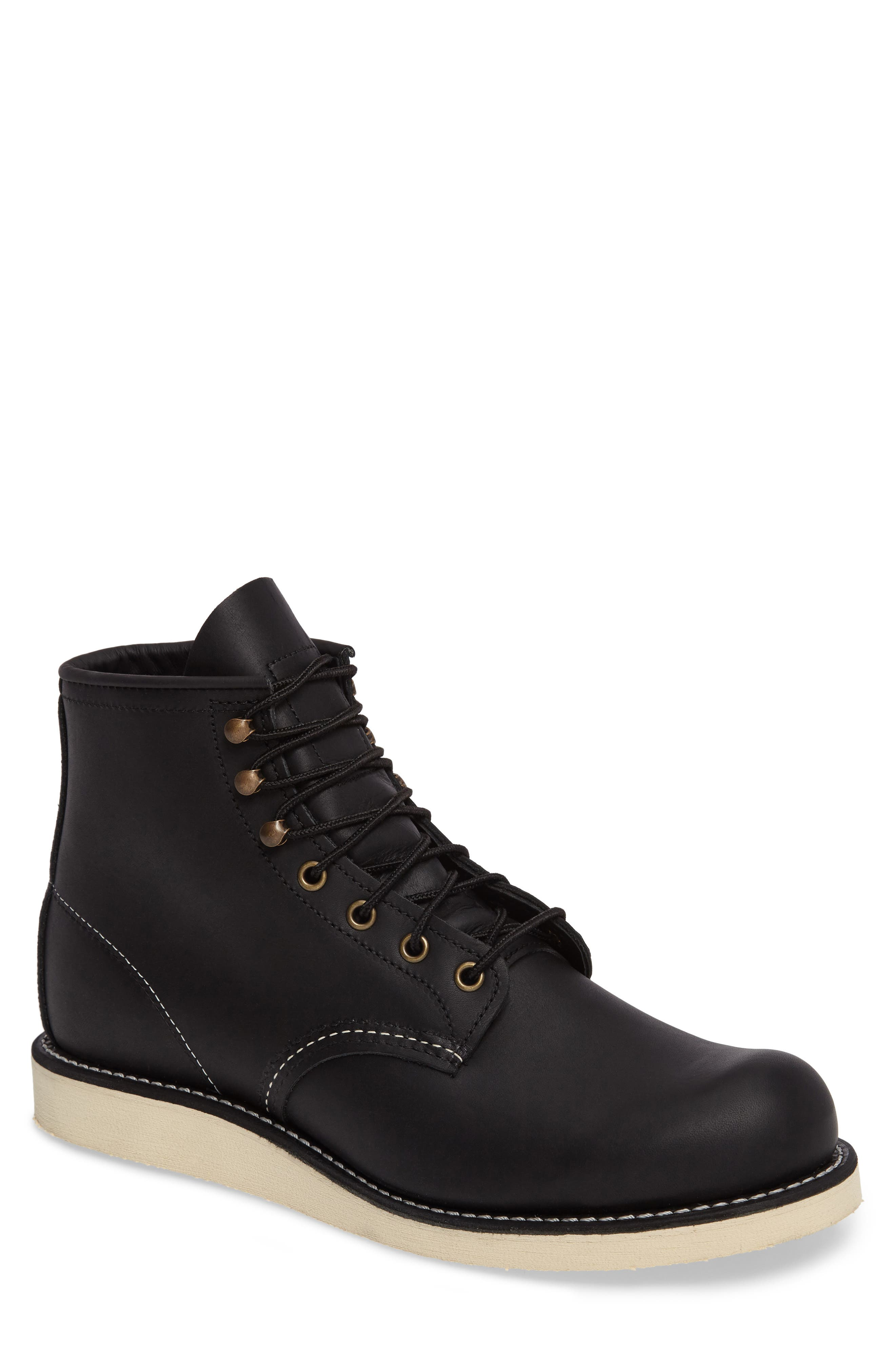 RED WING,                             Rover Plain Toe Boot,                             Main thumbnail 1, color,                             BLACK HARNESS LEATHER