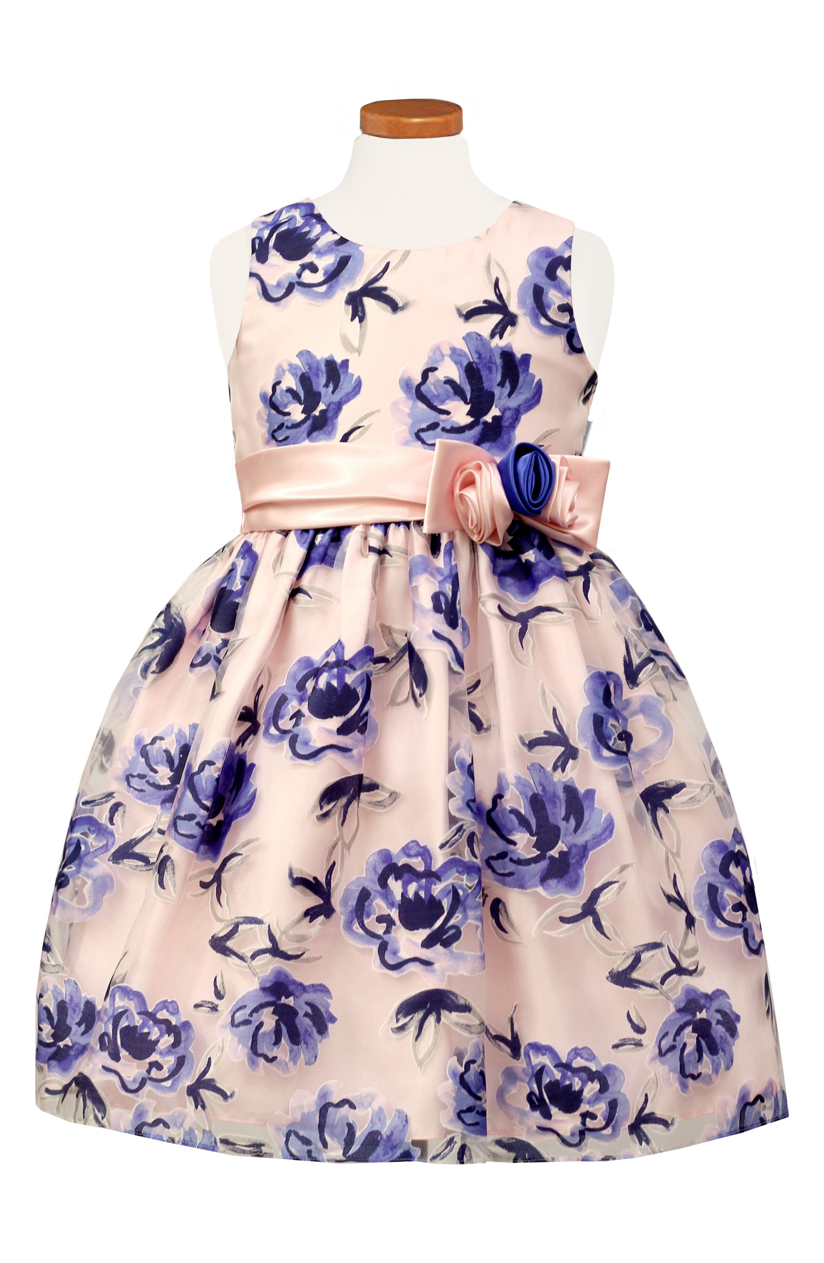 Sleeveless Floral Dress,                         Main,                         color, PINK