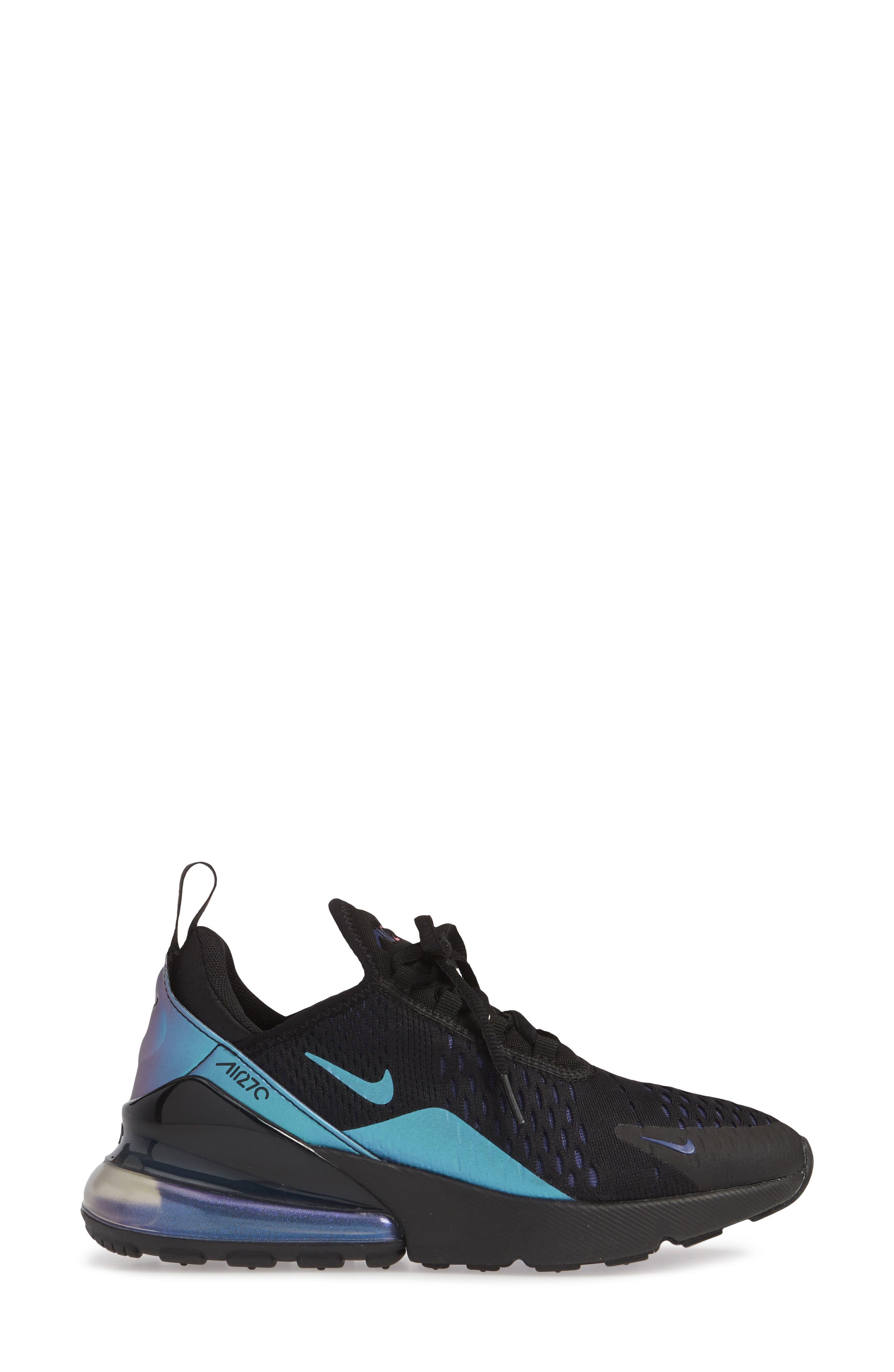 NIKE,                             Air Max 270 Premium Sneaker,                             Alternate thumbnail 3, color,                             BLACK/ FUCHSIA/ PURPLE