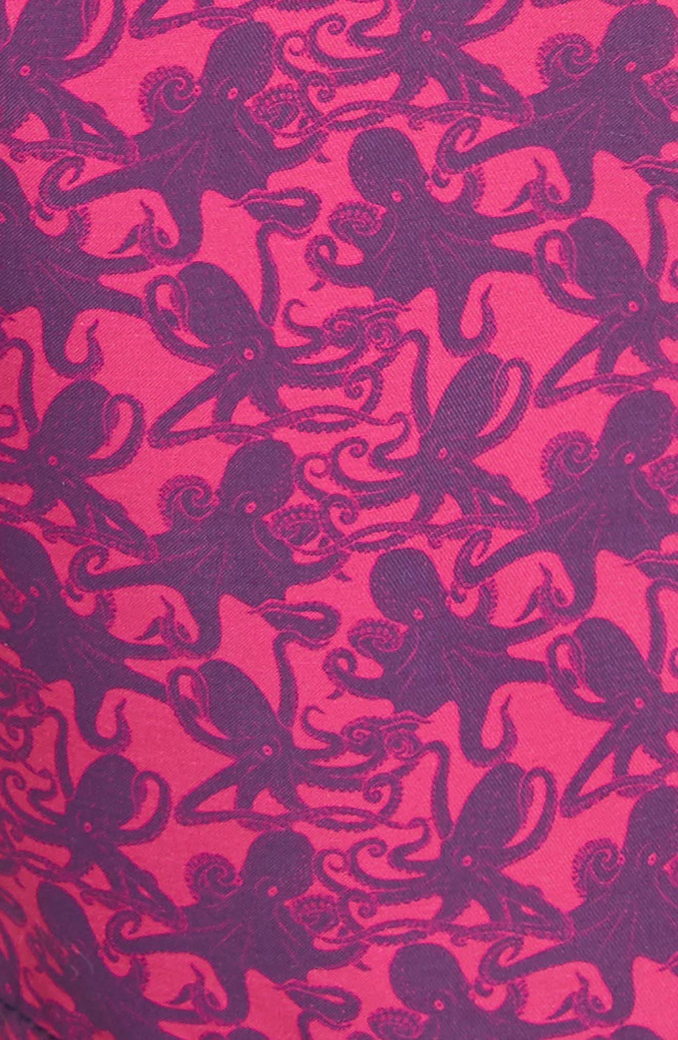 Mini Octopus Print Swim Trunks,                             Alternate thumbnail 5, color,                             SHOCKING PINK
