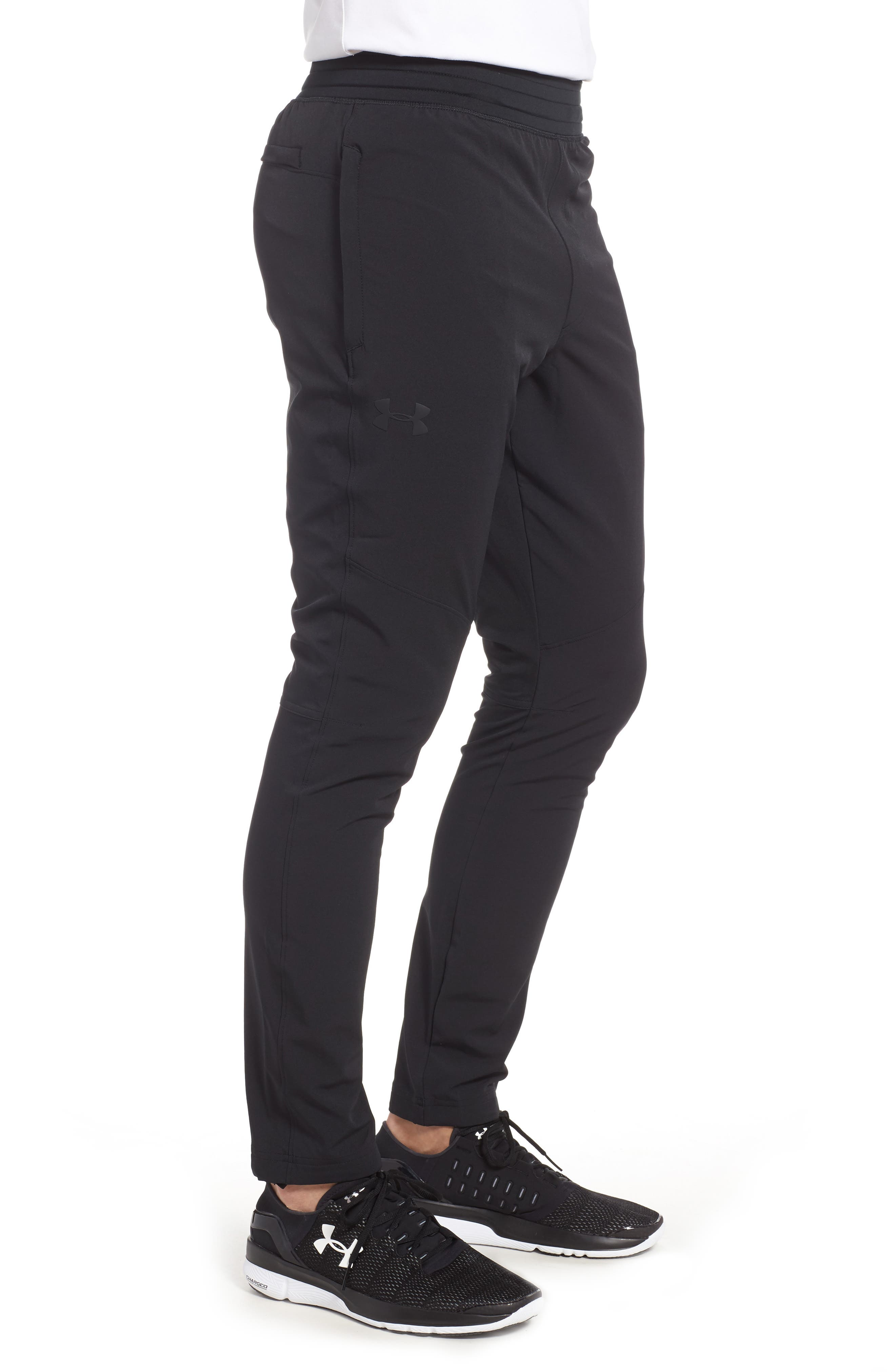 Fitted Woven Training Pants,                             Alternate thumbnail 3, color,                             BLACK