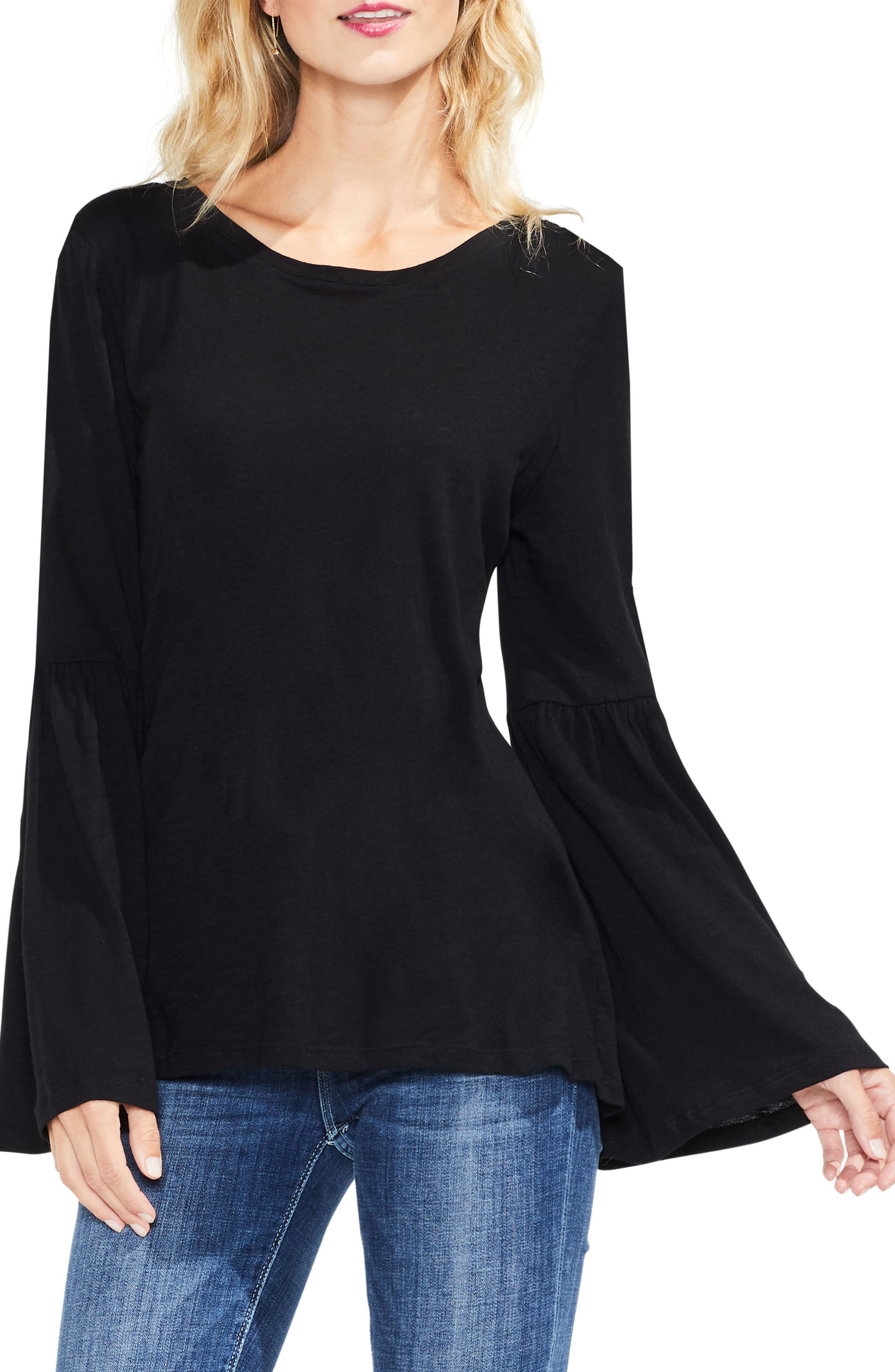 TWO BY VINCE CAMUTO,                             Bell Sleeve Cotton & Modal Top,                             Main thumbnail 1, color,                             006
