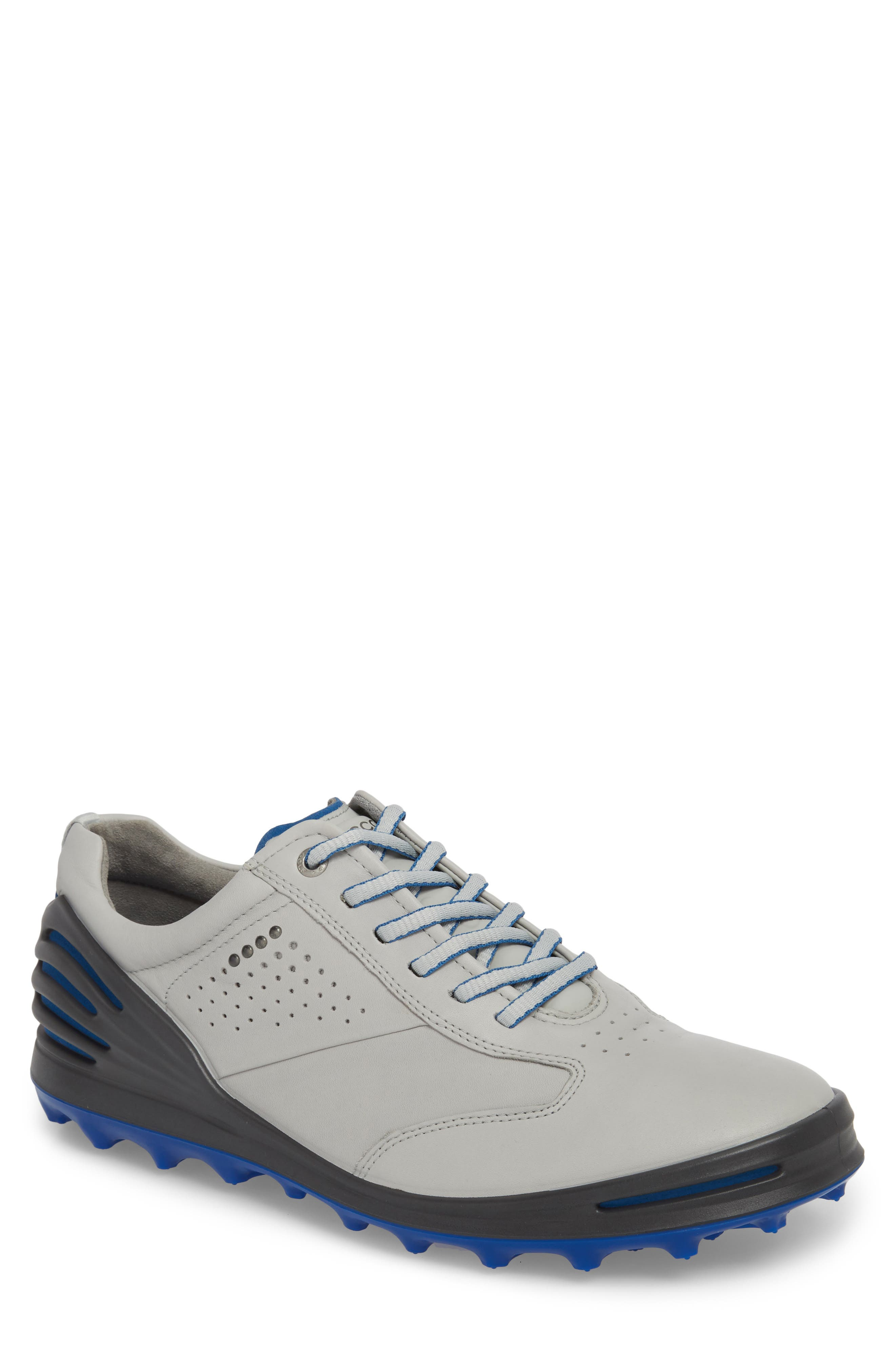 Cage Pro Golf Shoe,                             Main thumbnail 1, color,                             CONCRETE/ BERMUDA BLUE LEATHER