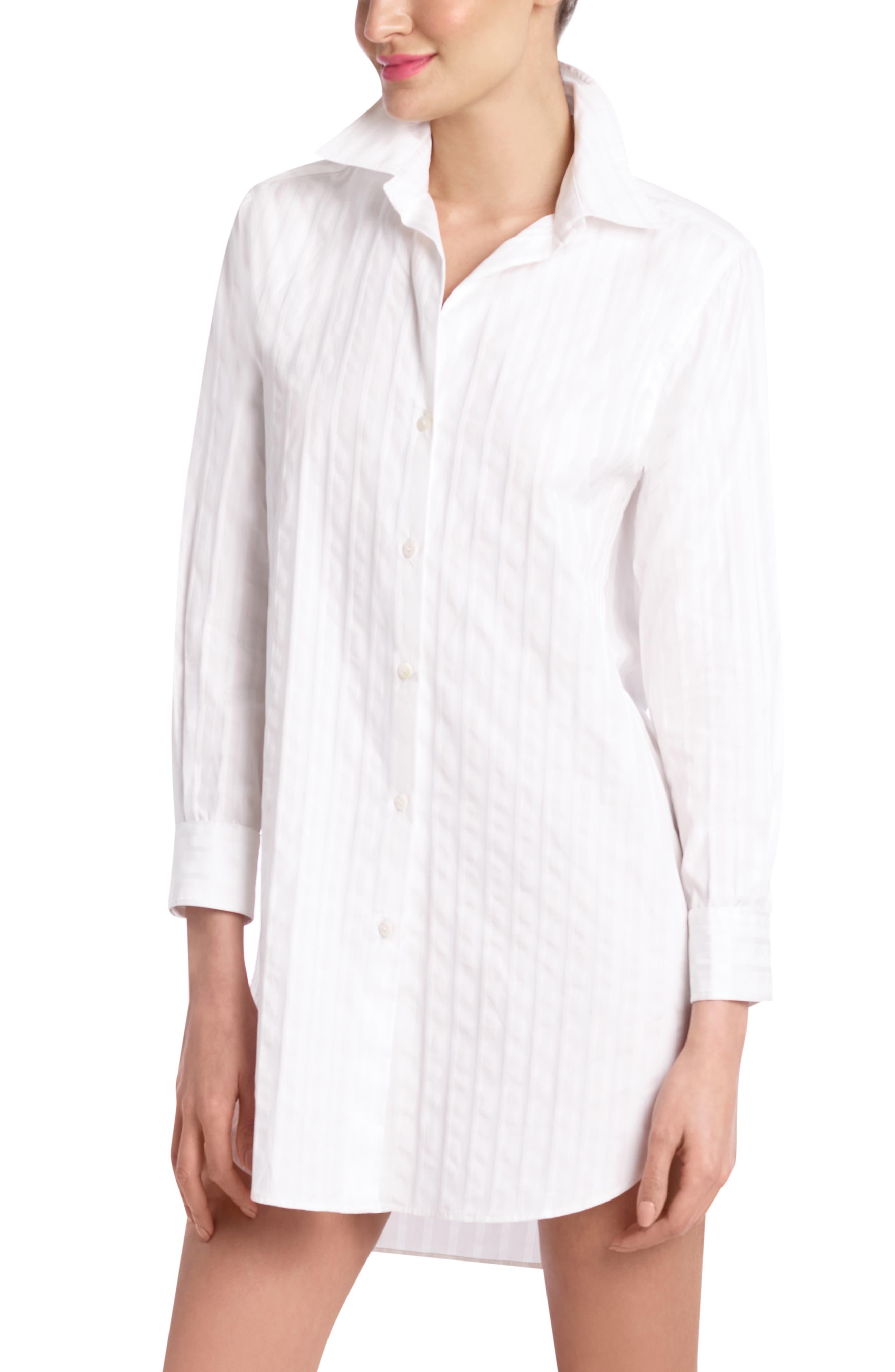 Stripe Oversize Sleep Shirt,                             Main thumbnail 1, color,                             JACQUARD STRIPE WHITE