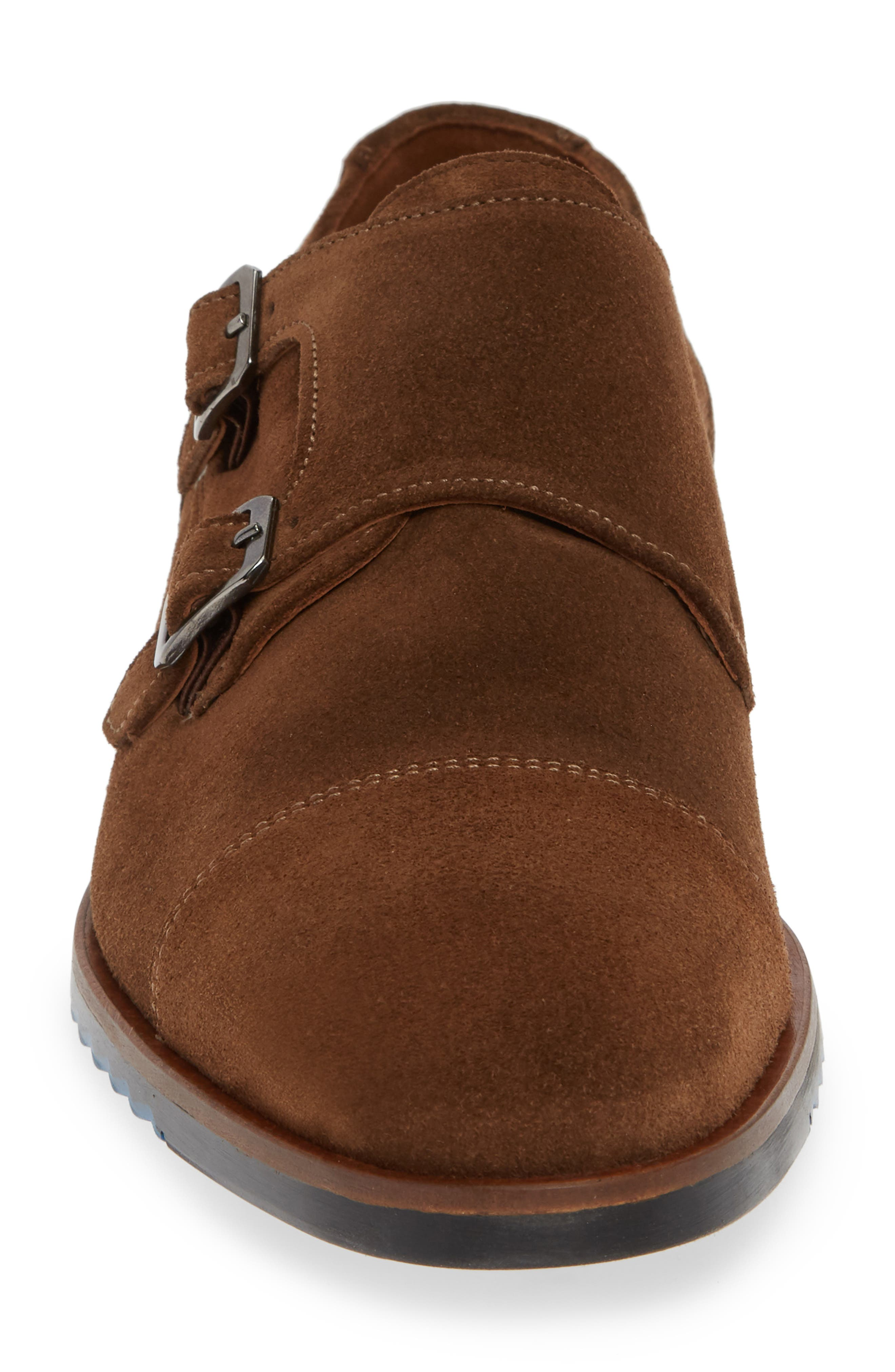 Darrow Double Monk Strap Shoe,                             Alternate thumbnail 4, color,                             CIGAR BROWN SUEDE