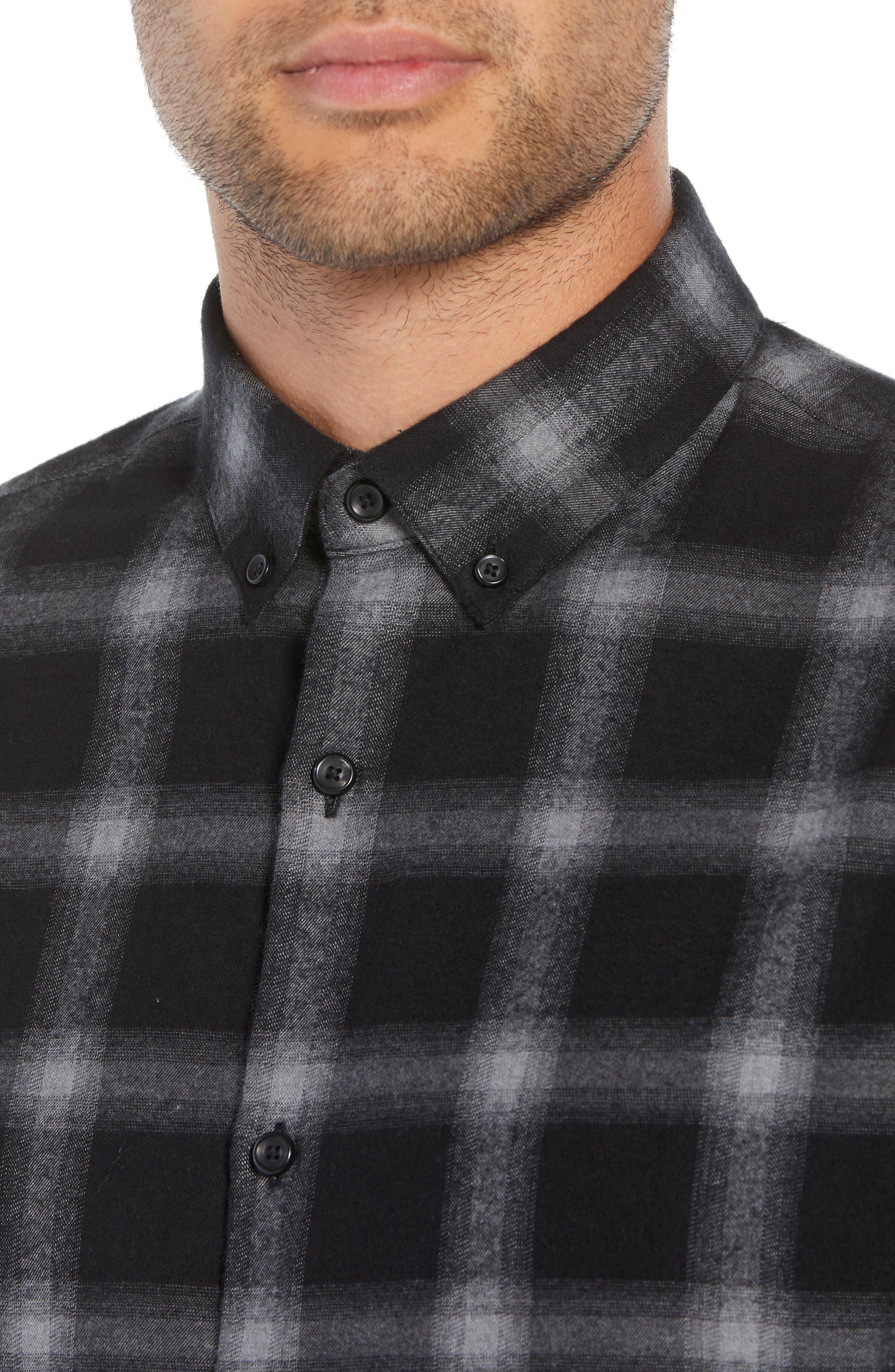 Slim Fit Mini Collar Plaid Flannel Sport Shirt,                             Alternate thumbnail 4, color,                             GREY BLACK SHADOW PLAID
