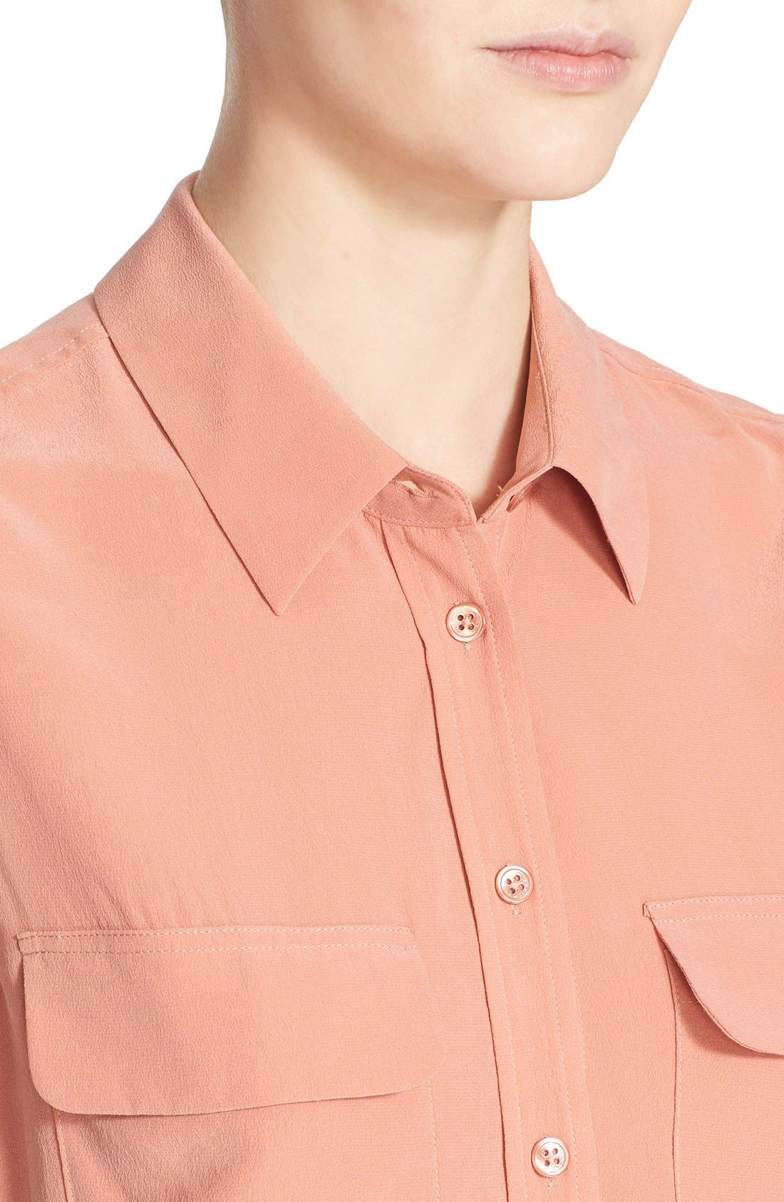 'Slim Signature' Sleeveless Silk Shirt,                             Alternate thumbnail 99, color,