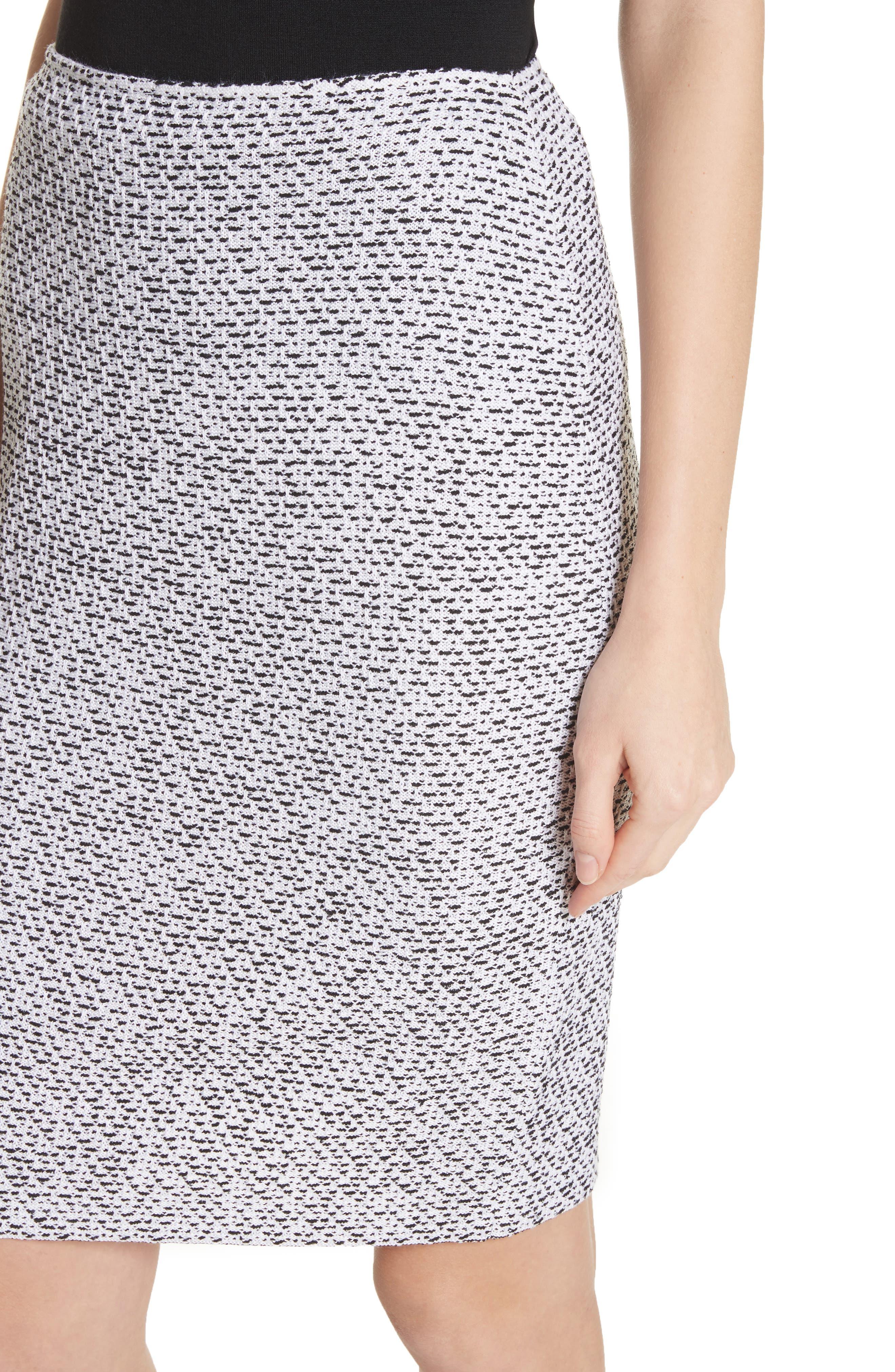Olivia Bouclé Knit Skirt,                             Alternate thumbnail 4, color,                             WHITE/ CAVIAR