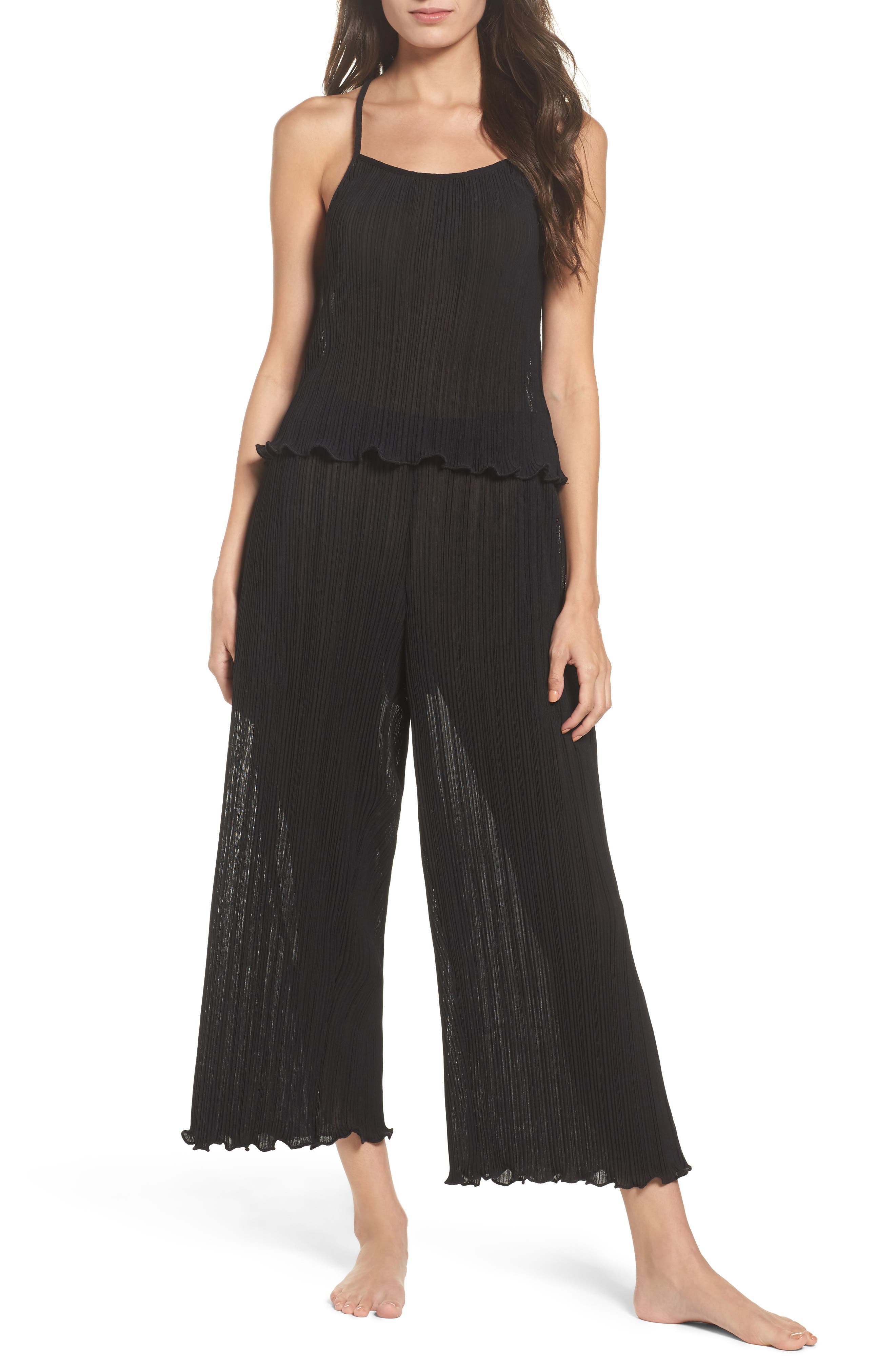 Mika Pleated Lounge Pants,                             Alternate thumbnail 7, color,                             009