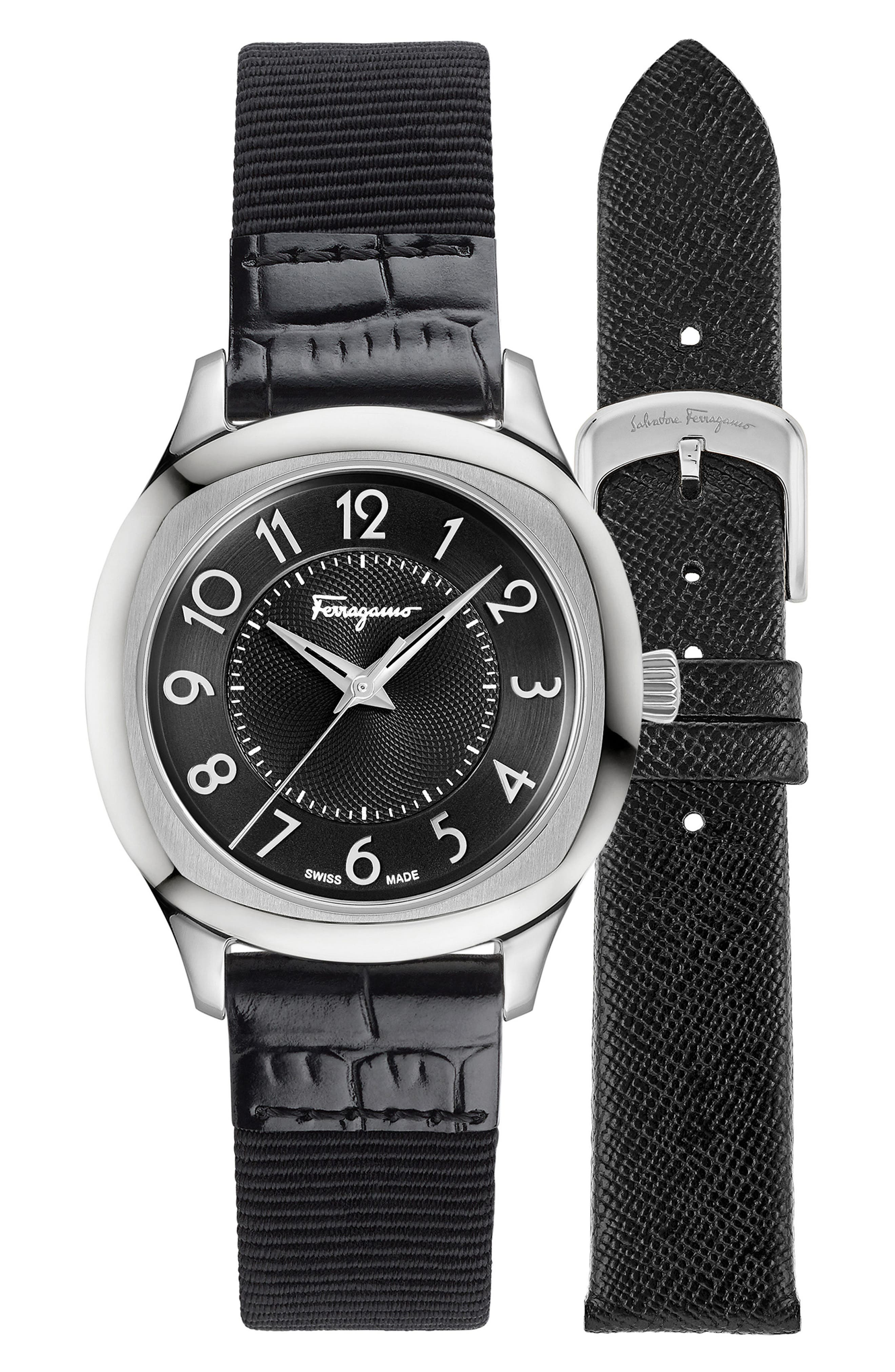 Dual Leather Strap Watch, 36mm,                             Alternate thumbnail 4, color,                             BLACK/ SILVER