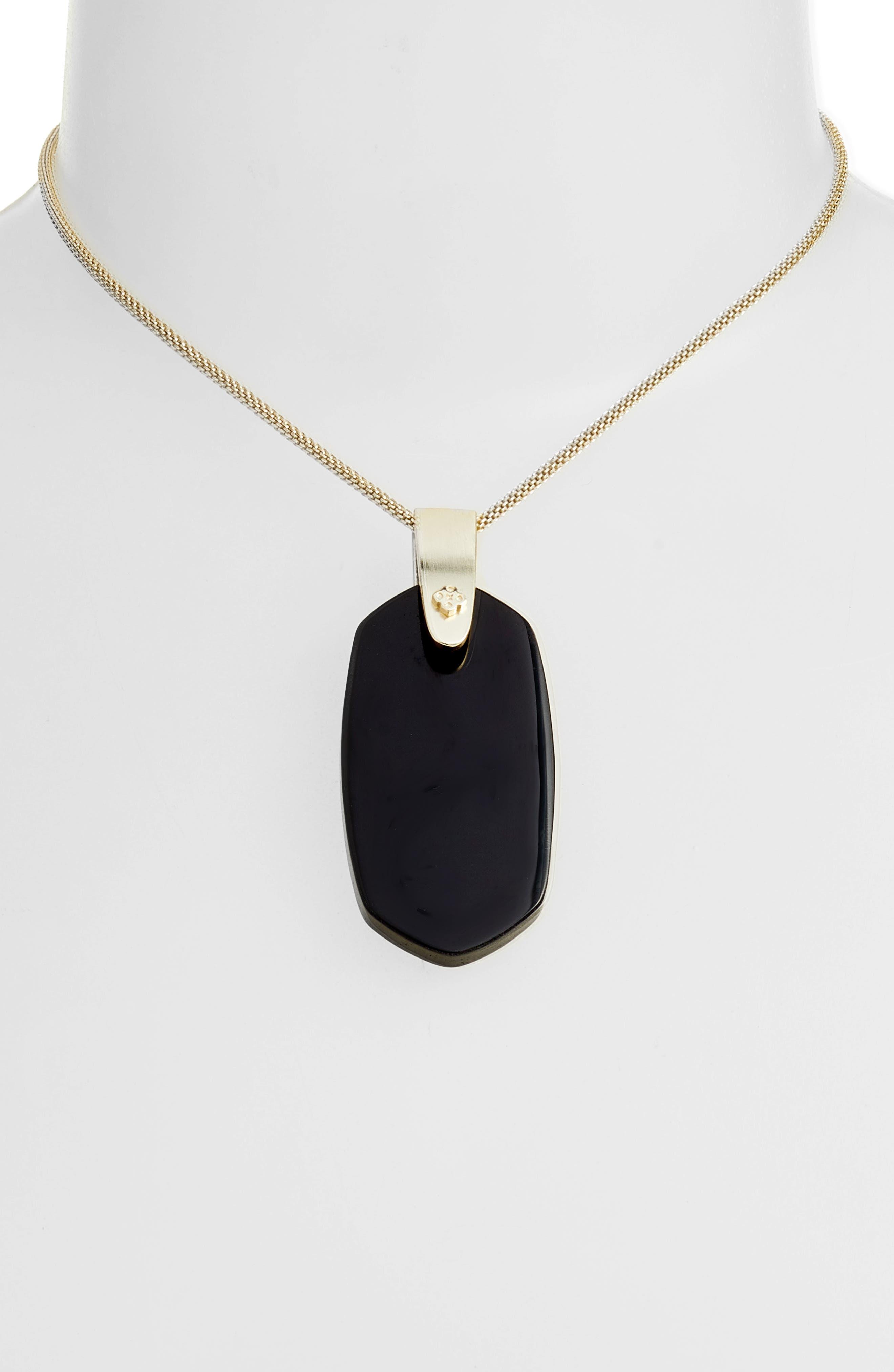 Inez Pendant Necklace,                             Alternate thumbnail 2, color,                             BLACK/ GOLD