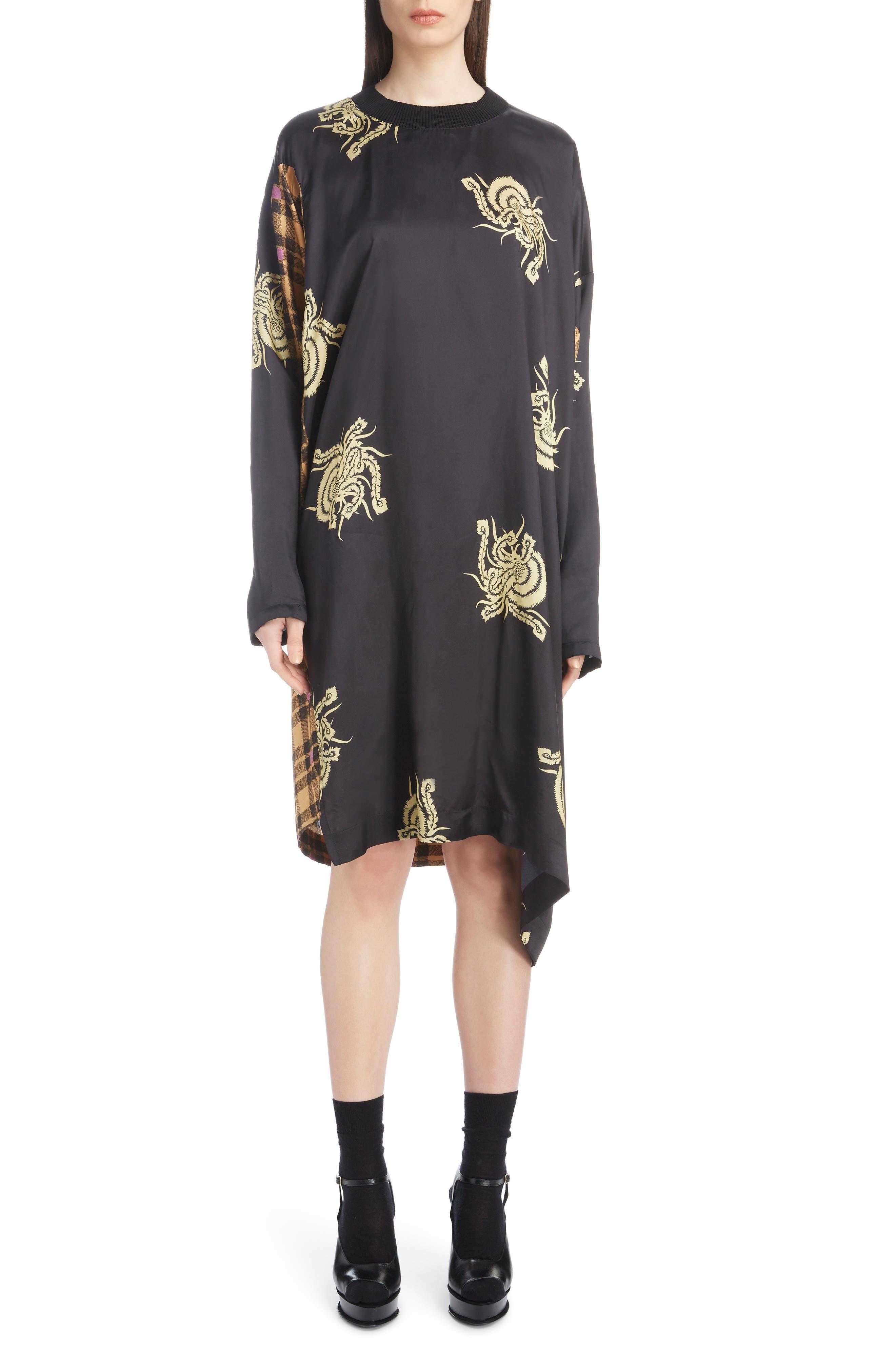 Mixed Print Dress,                         Main,                         color, 001