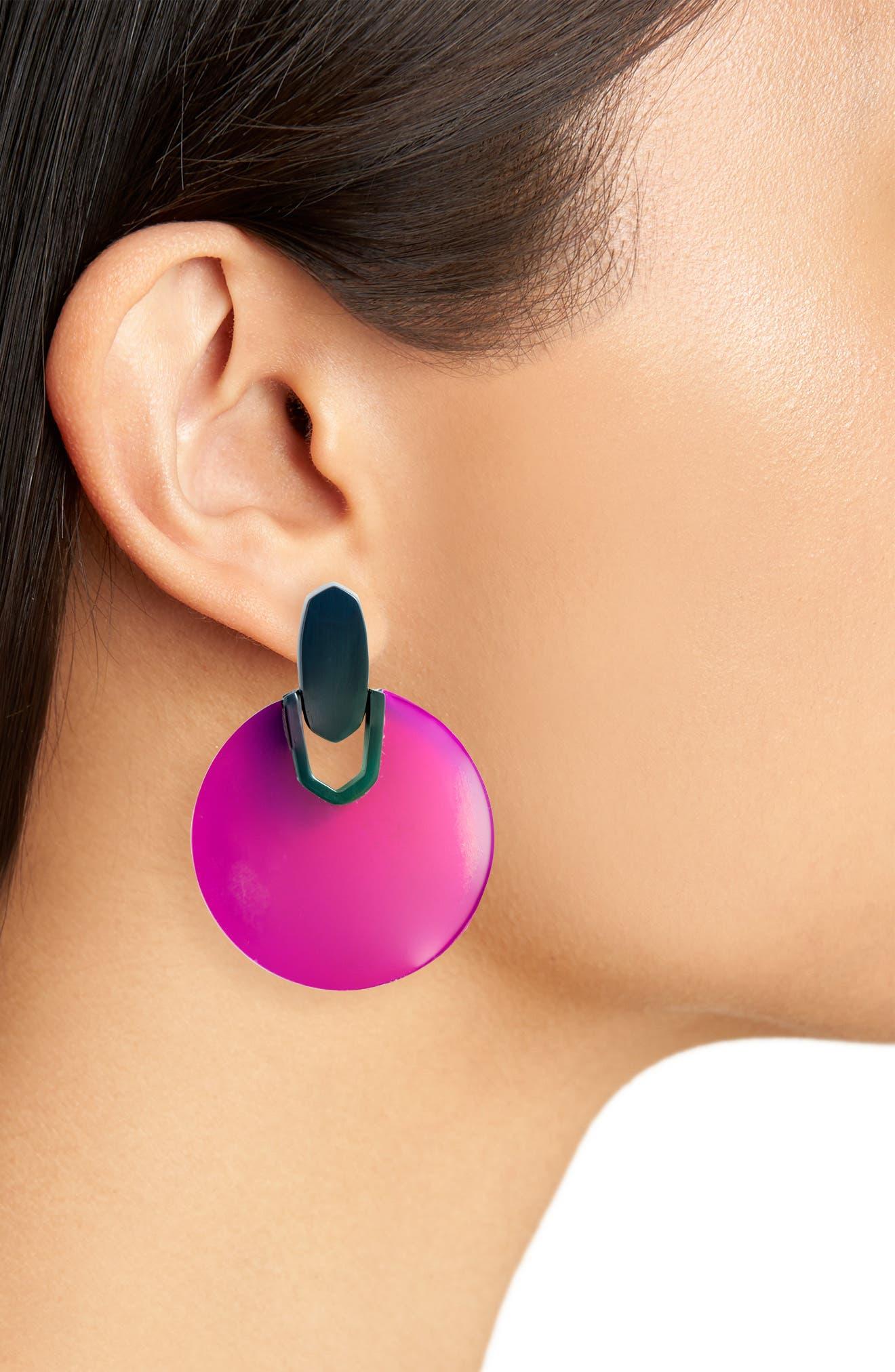 Didi Disc Earrings,                             Alternate thumbnail 2, color,                             GRAY DICHROIC GLASS/ SILVER