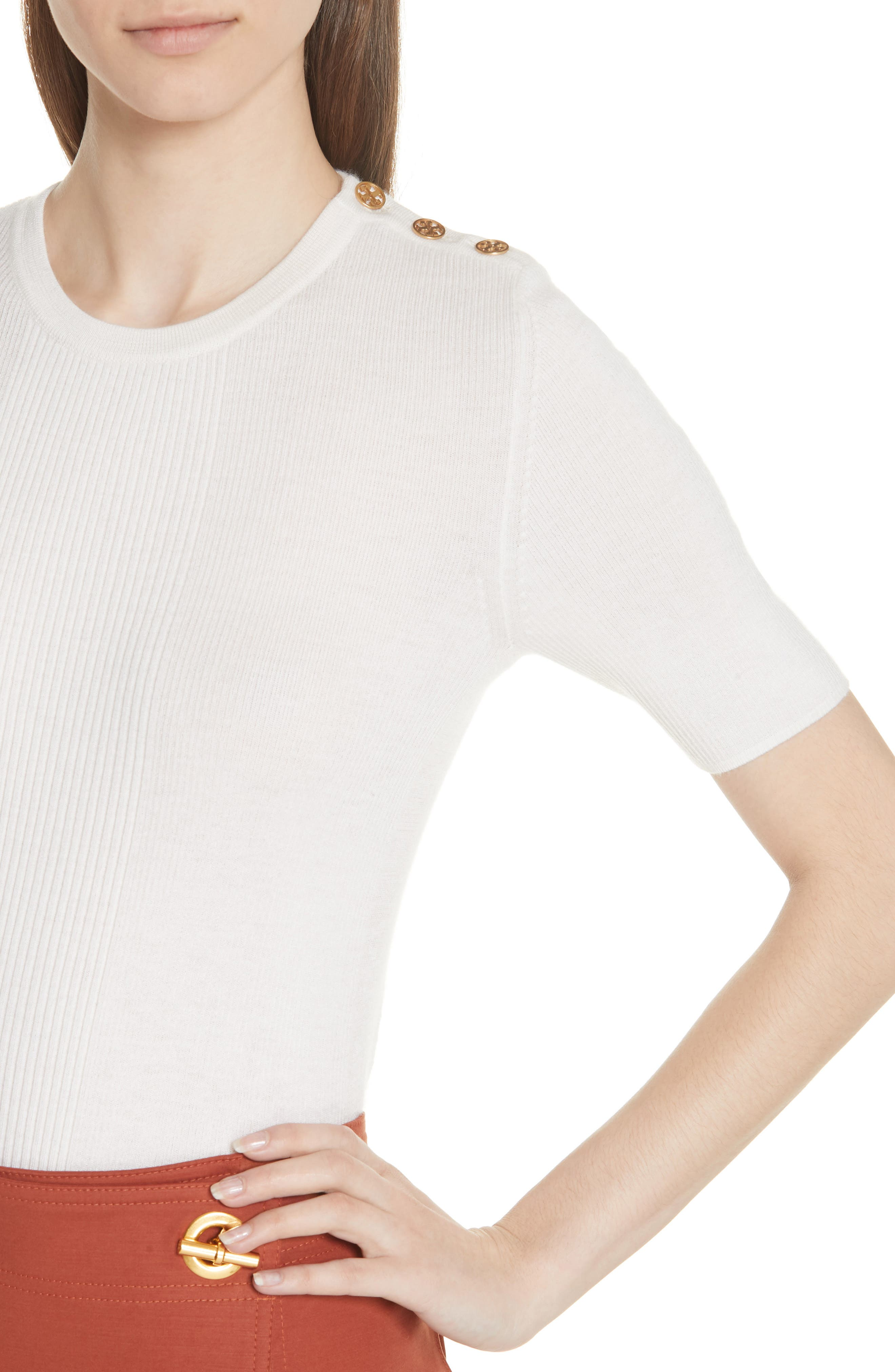 Taylor Ribbed Cashmere Sweater,                             Alternate thumbnail 4, color,                             NEW IVORY
