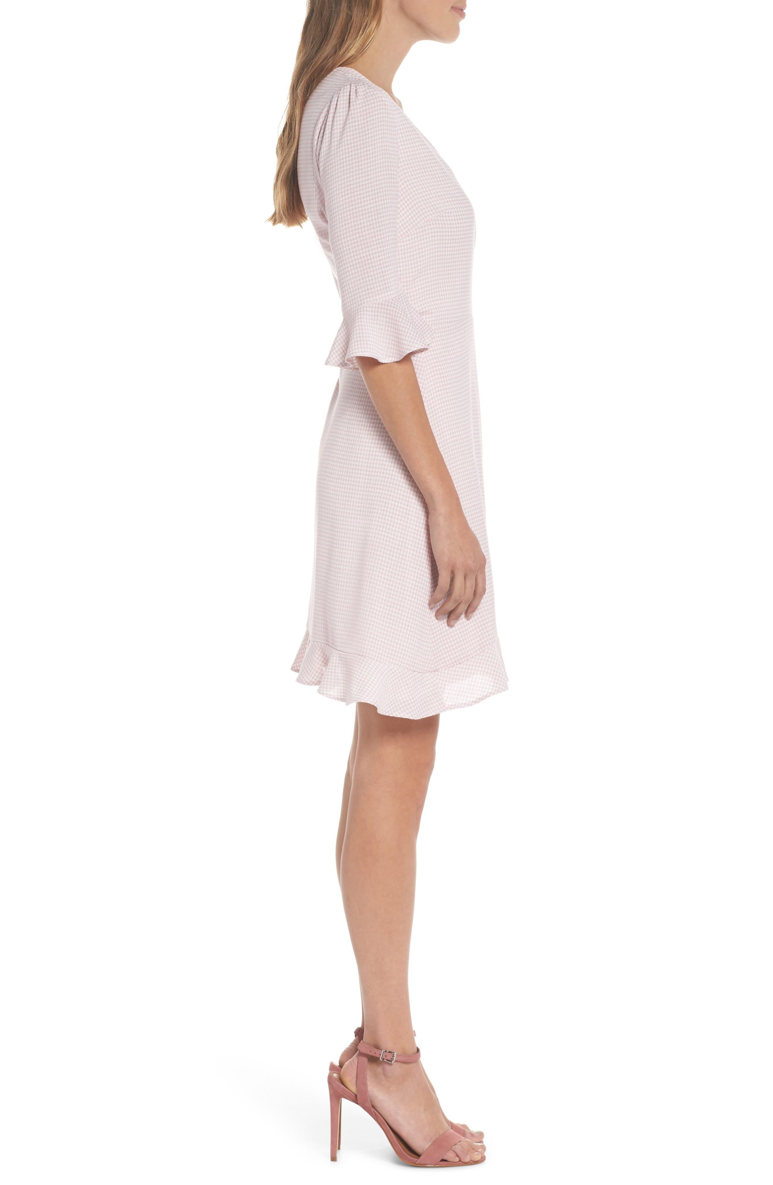 Gingham Wrap Dress,                             Alternate thumbnail 3, color,