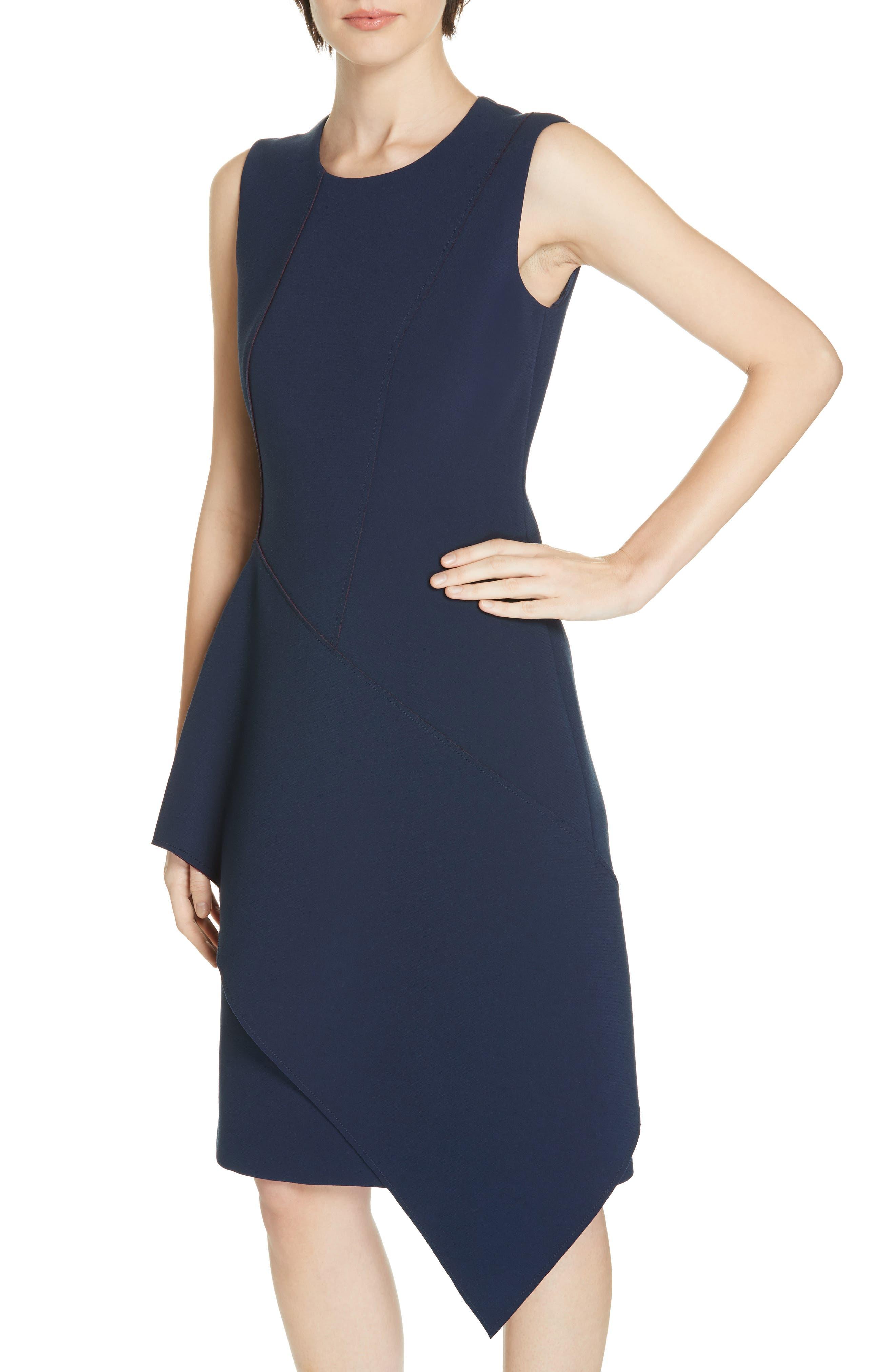 Delakety Asymmetrical A-Line Dress,                             Alternate thumbnail 4, color,                             DEEP BLUE FANTASY