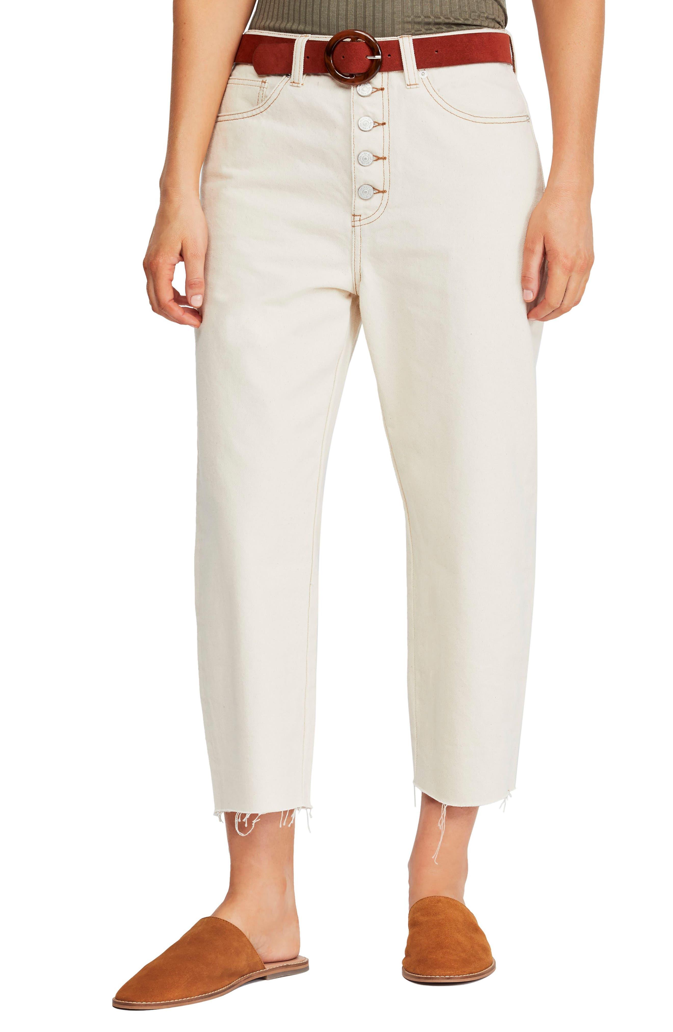Barrel Straight Leg Crop Jeans, Main, color, IVORY