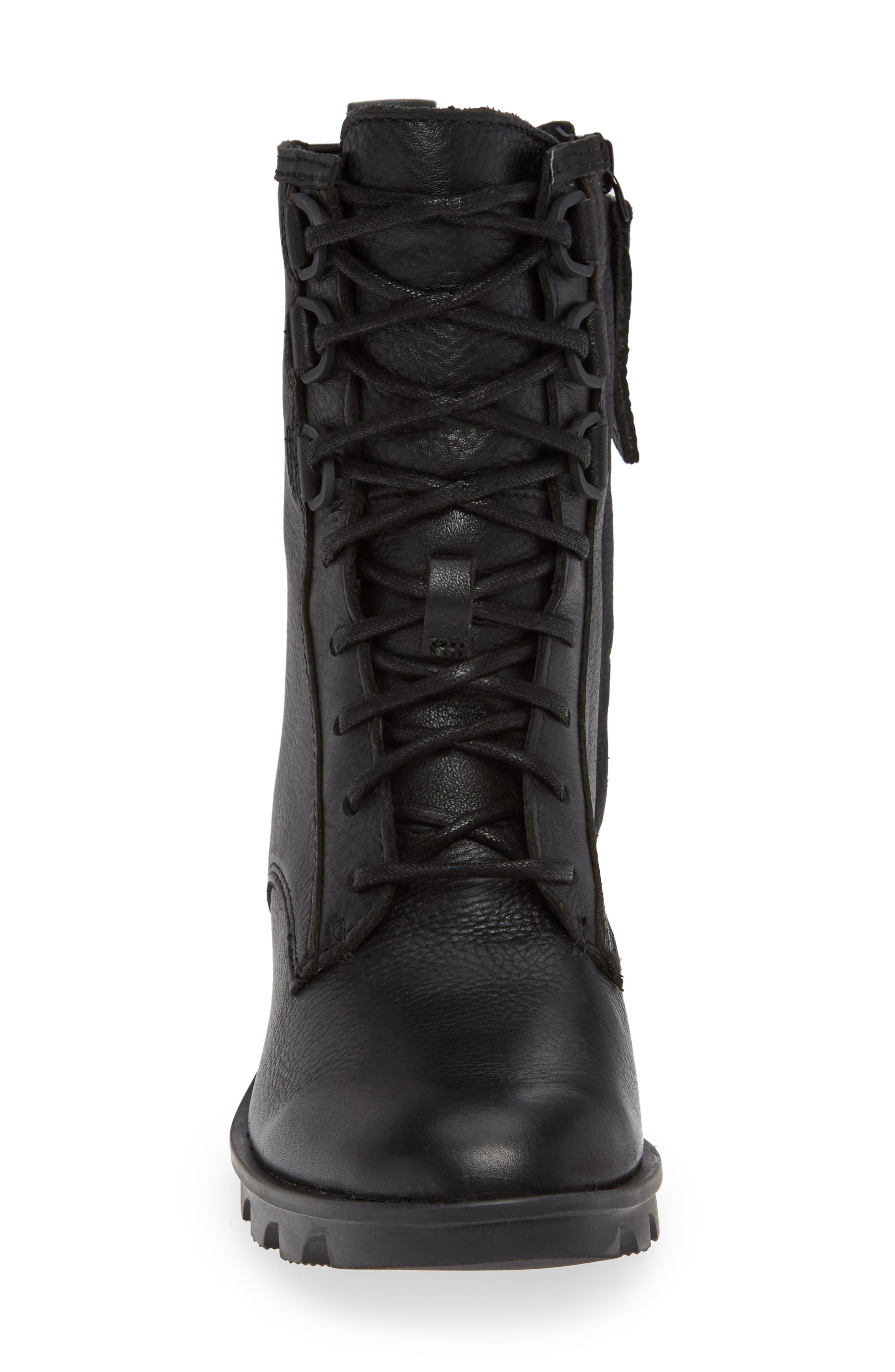 Phoenix Lace-Up Boot,                             Alternate thumbnail 4, color,                             BLACK